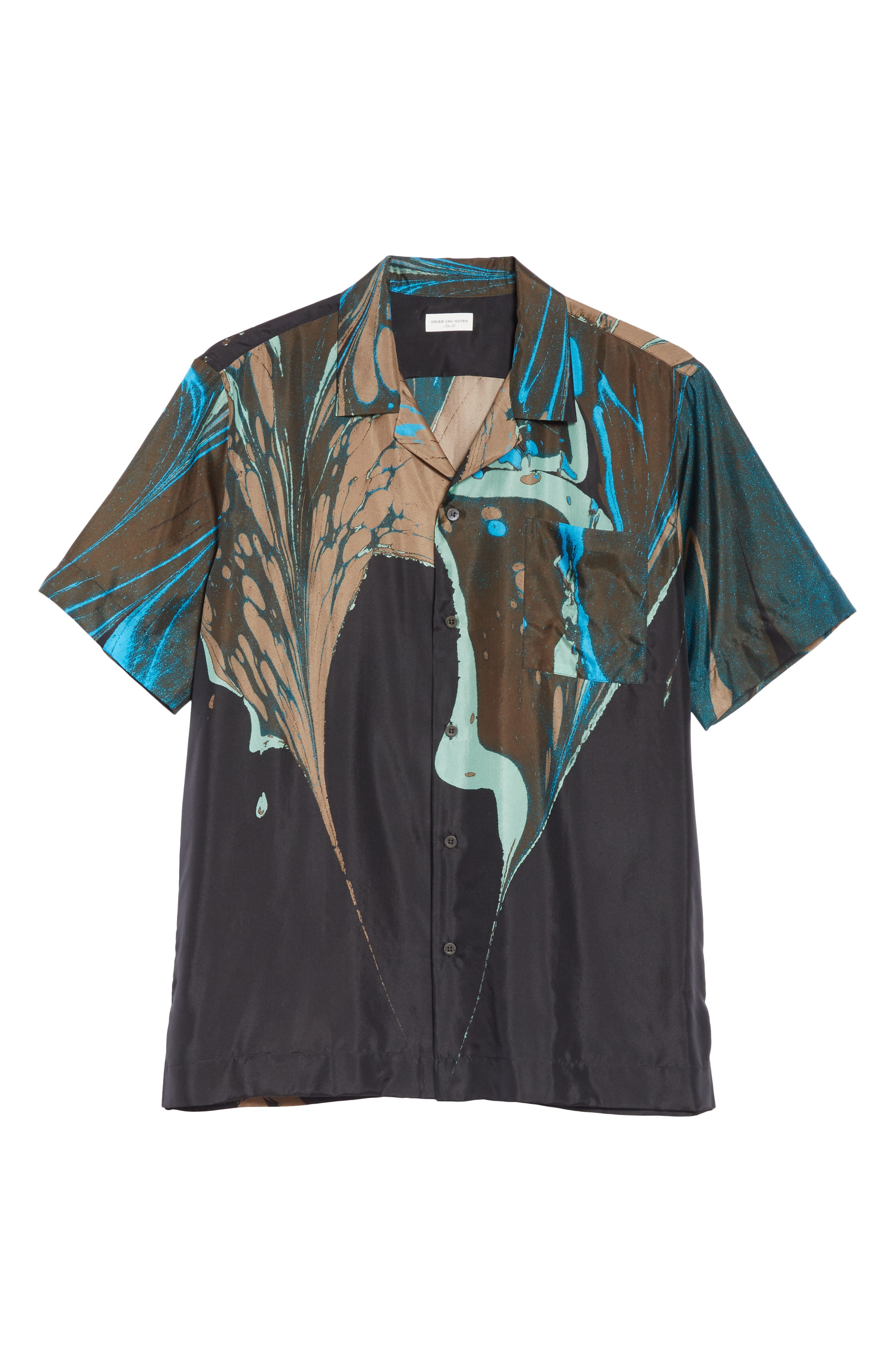 Carlton Print Silk Camp Shirt,                             Alternate thumbnail 6, color,                             BLACK