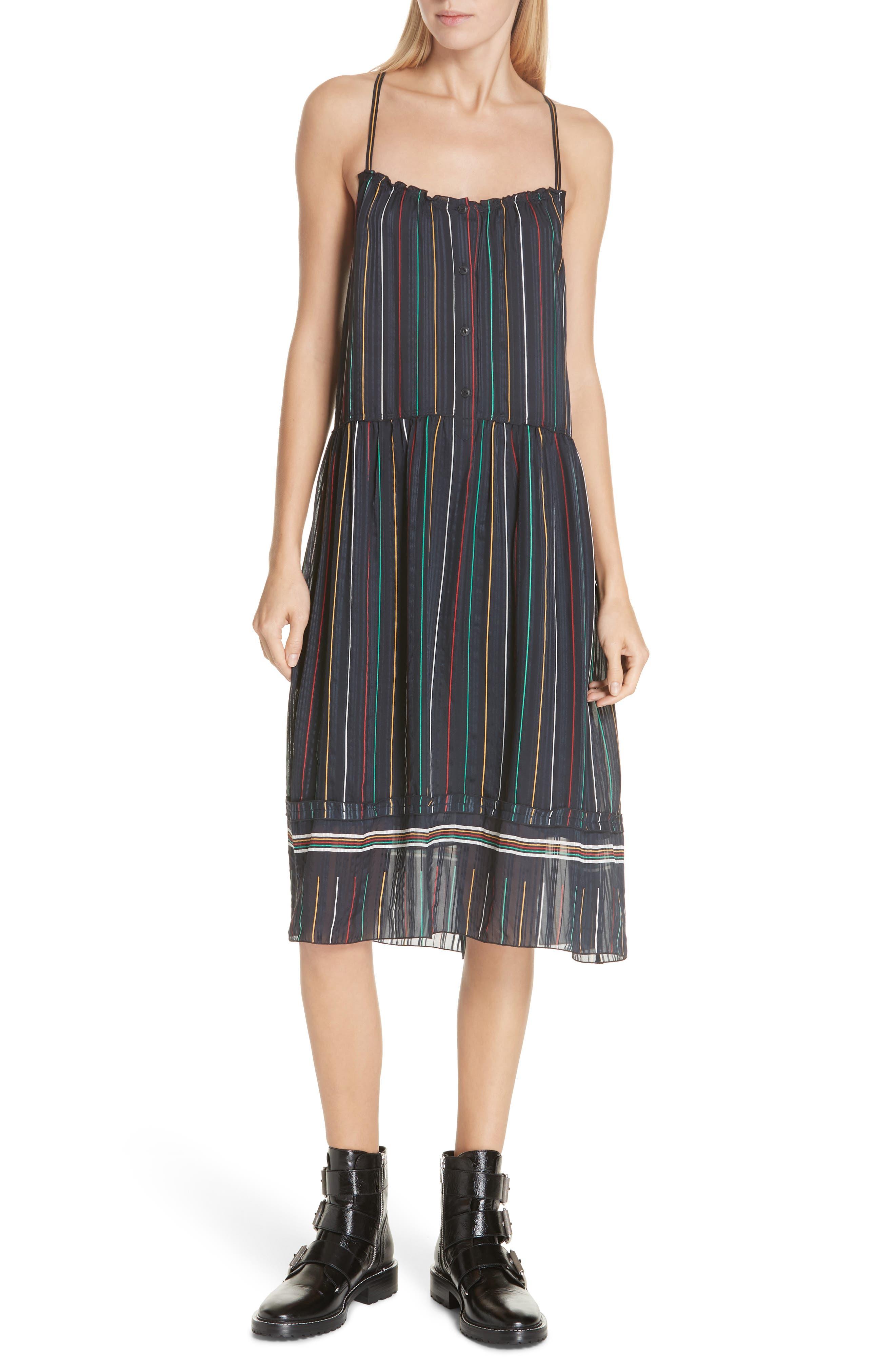 Austin Stripe Silk Midi Dress,                         Main,                         color, BLACK STRIPE