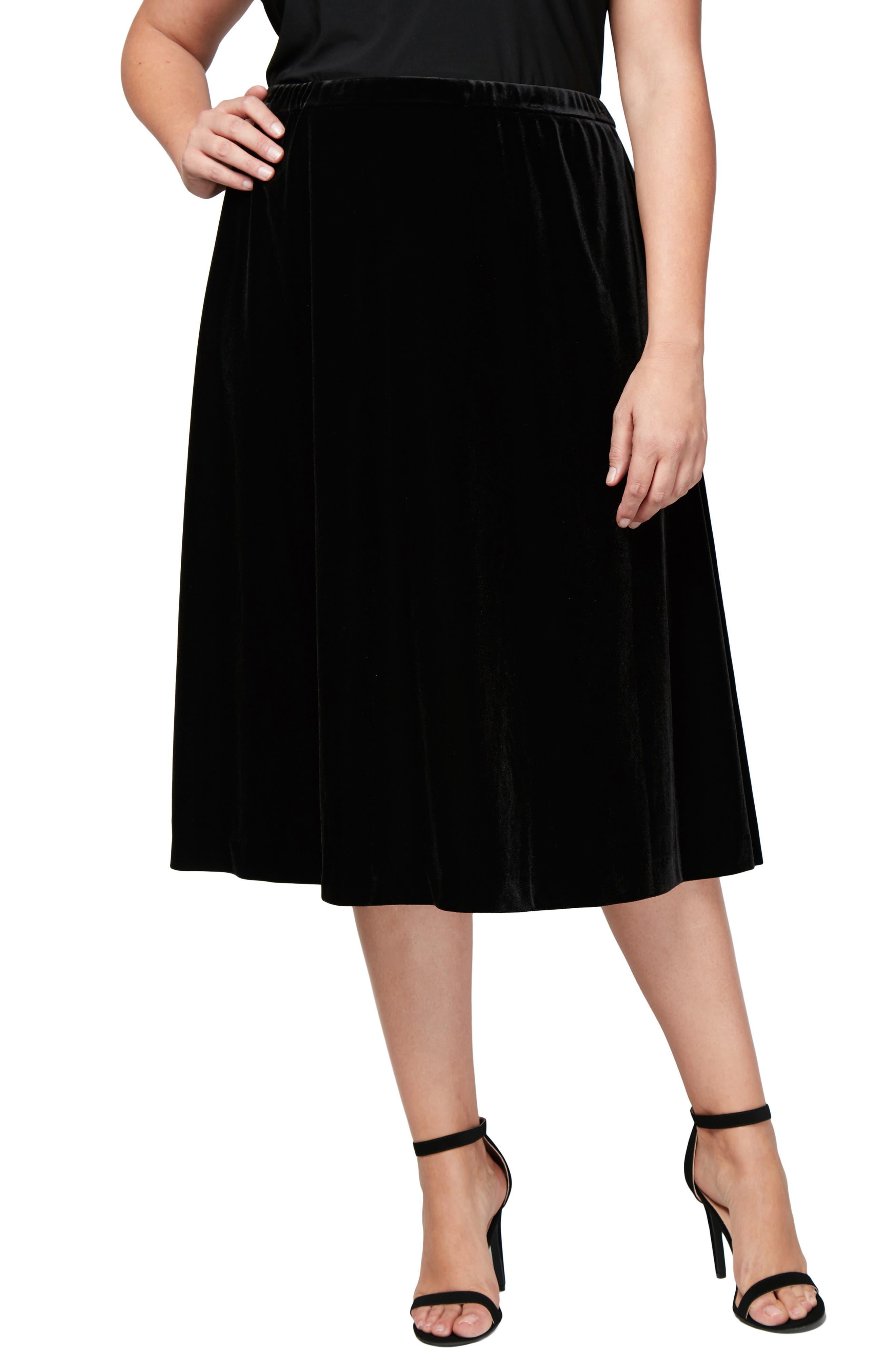 Plus Size Alex Evenings Velvet Skirt, Black