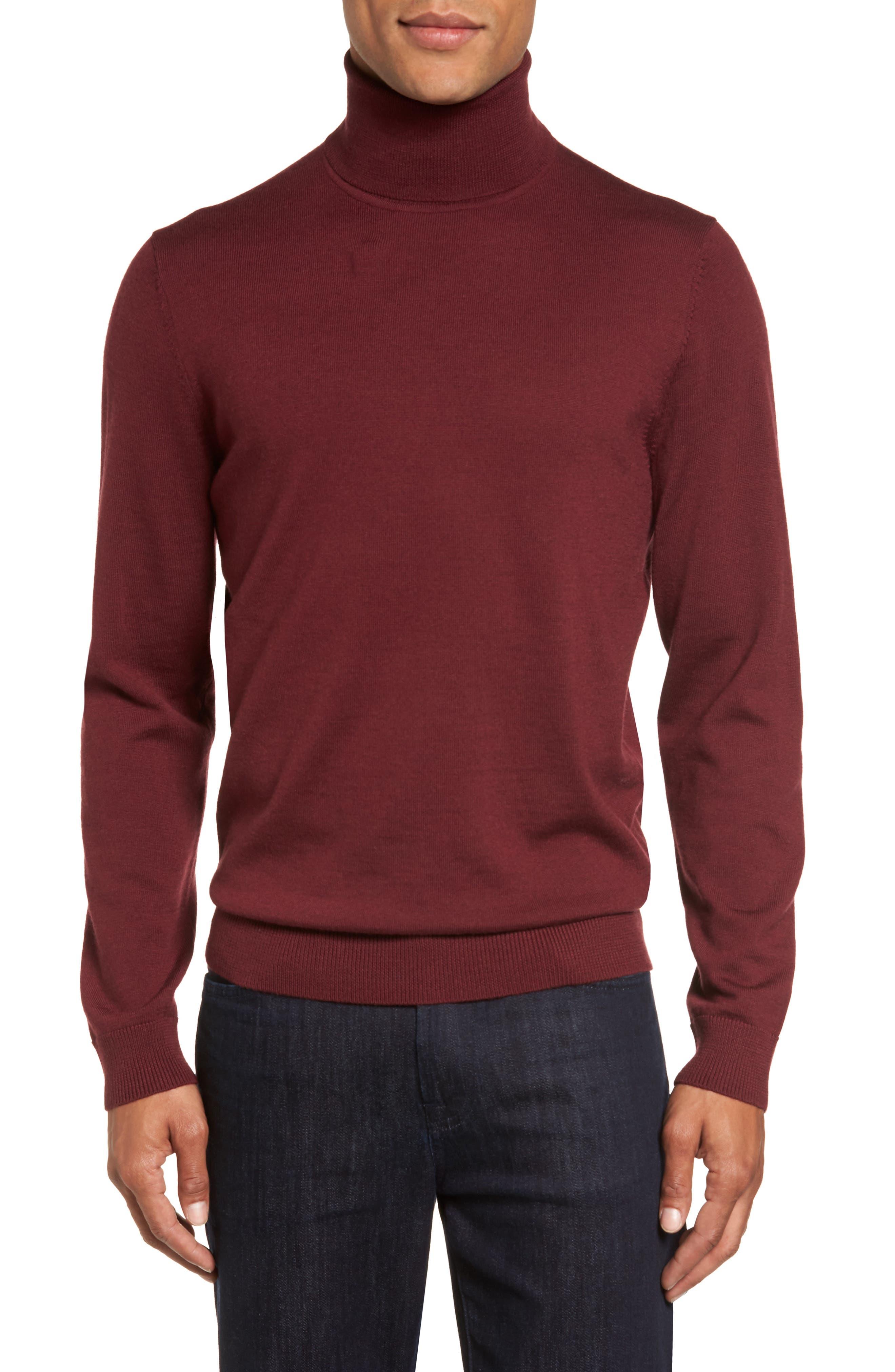 Nordstrom Shop Merino Wool Turtleneck Sweater, Burgundy