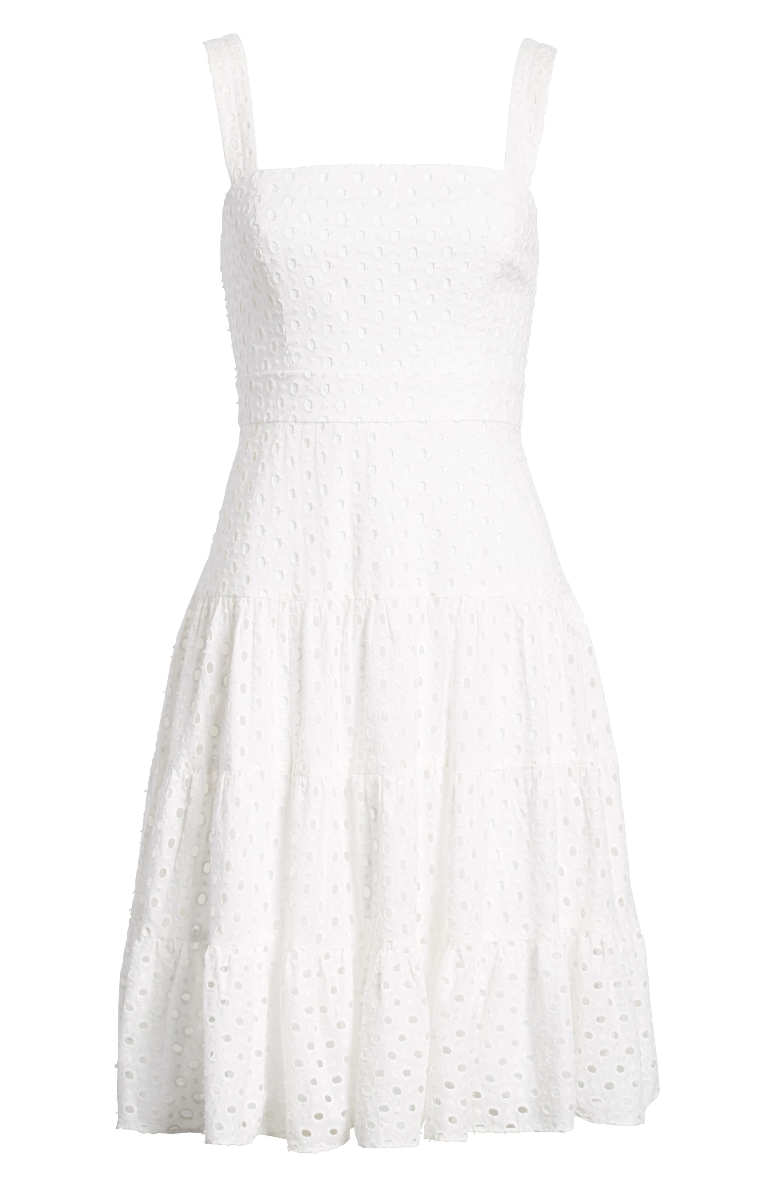 Eyelet Fit & Flare Dress,                             Alternate thumbnail 7, color,                             100
