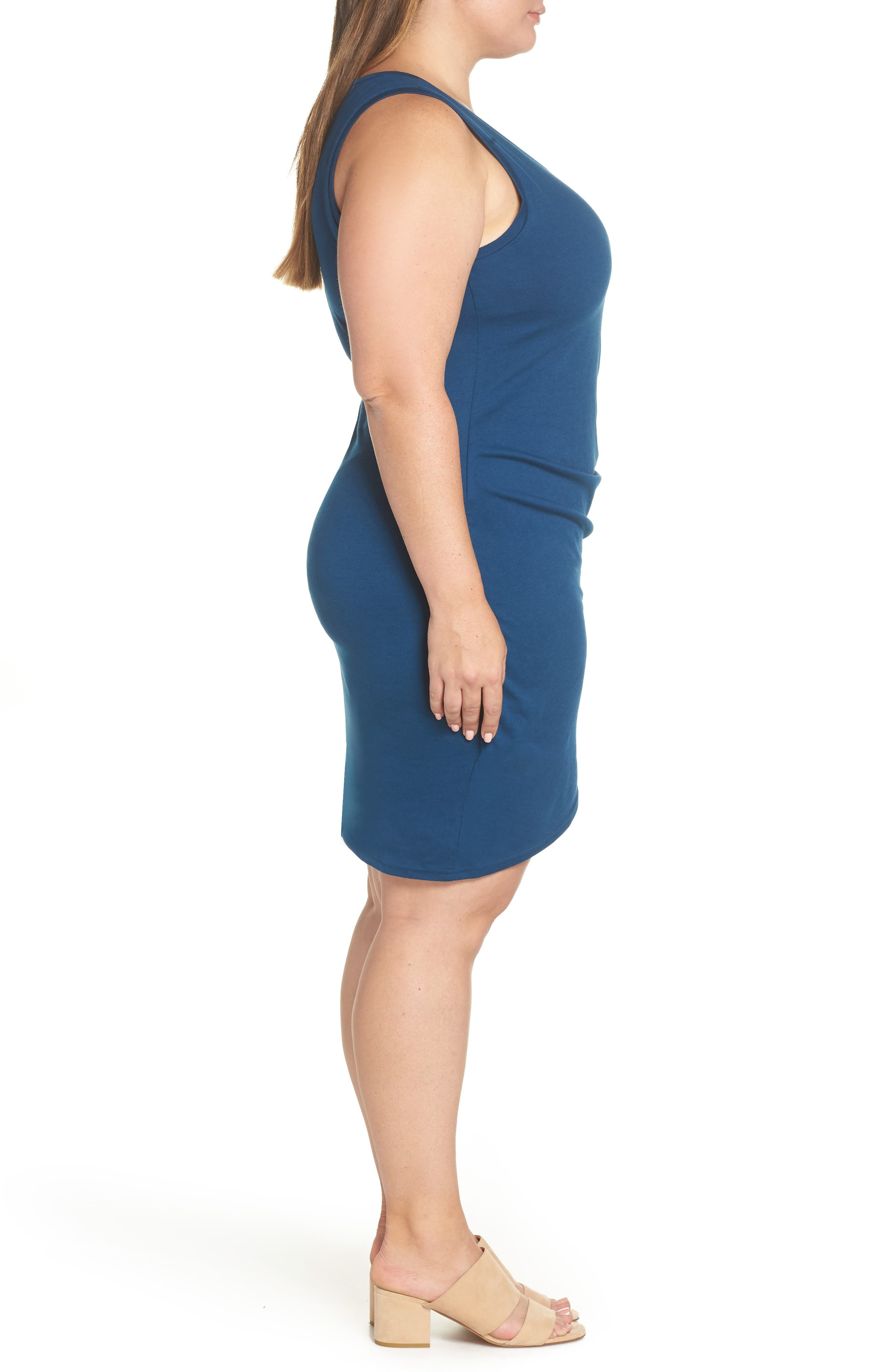 Ruched Sheath Dress,                             Alternate thumbnail 3, color,                             BLUE AURORA