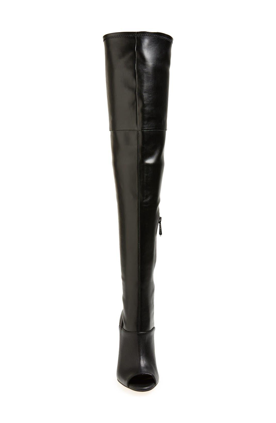 BCBGMAXAZRIA,                             'Deanna' Over the Knee Leather Peep Toe Boot,                             Alternate thumbnail 3, color,                             001