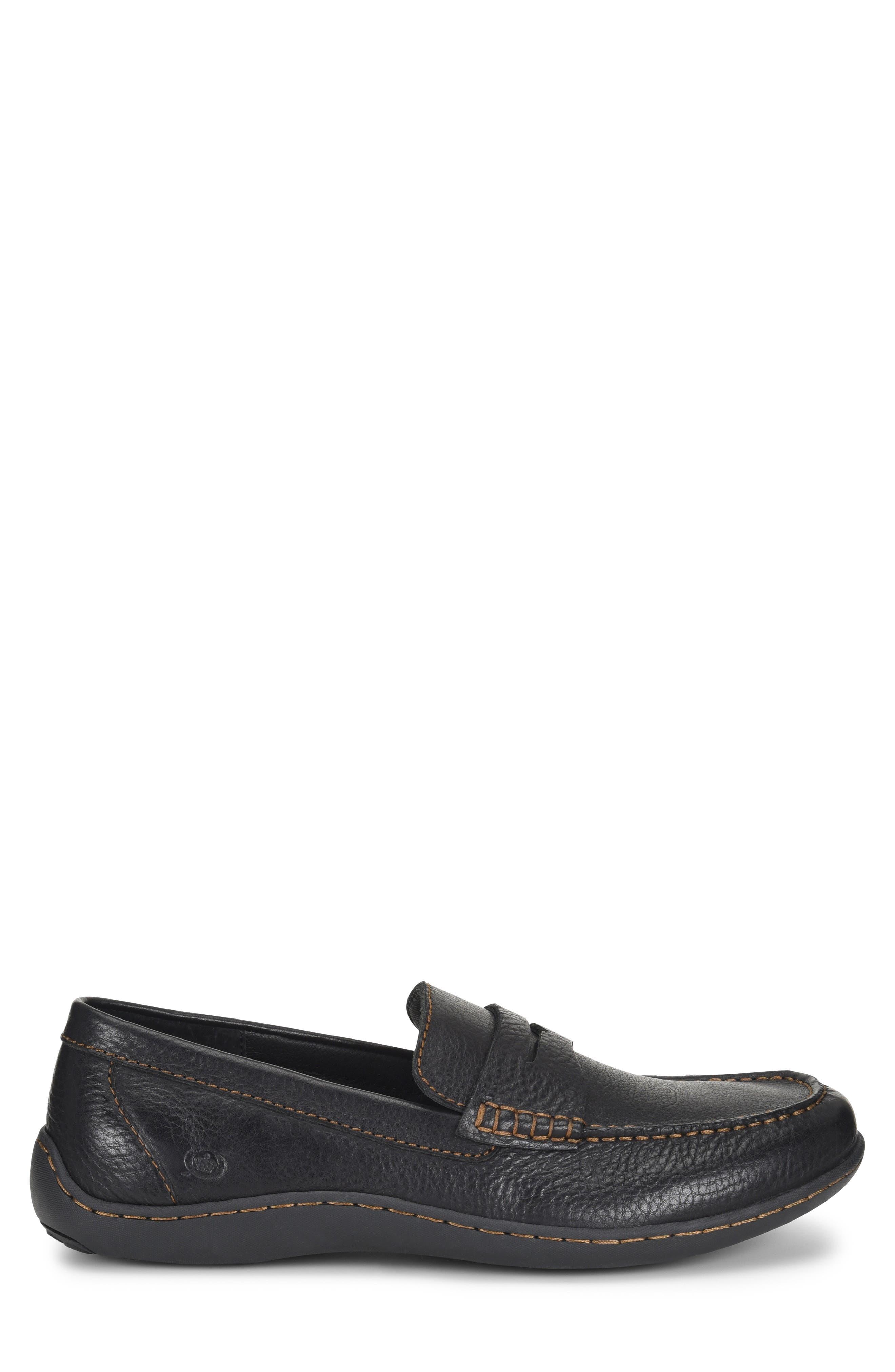 Simon II Driving Shoe,                             Alternate thumbnail 3, color,                             BLACK LEATHER