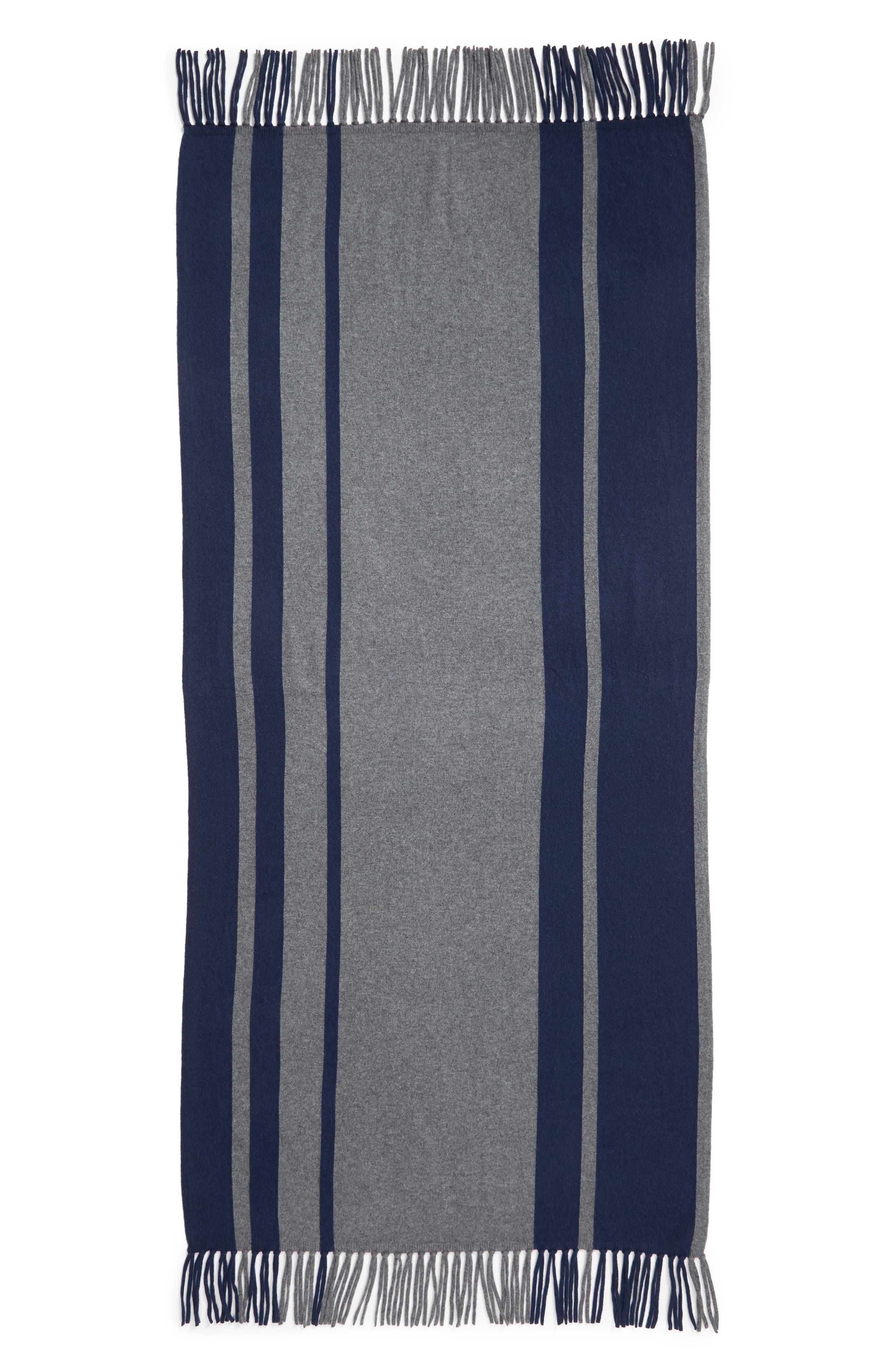 Stripe Cashmere Wrap Scarf,                             Alternate thumbnail 3, color,                             GREY COMBO