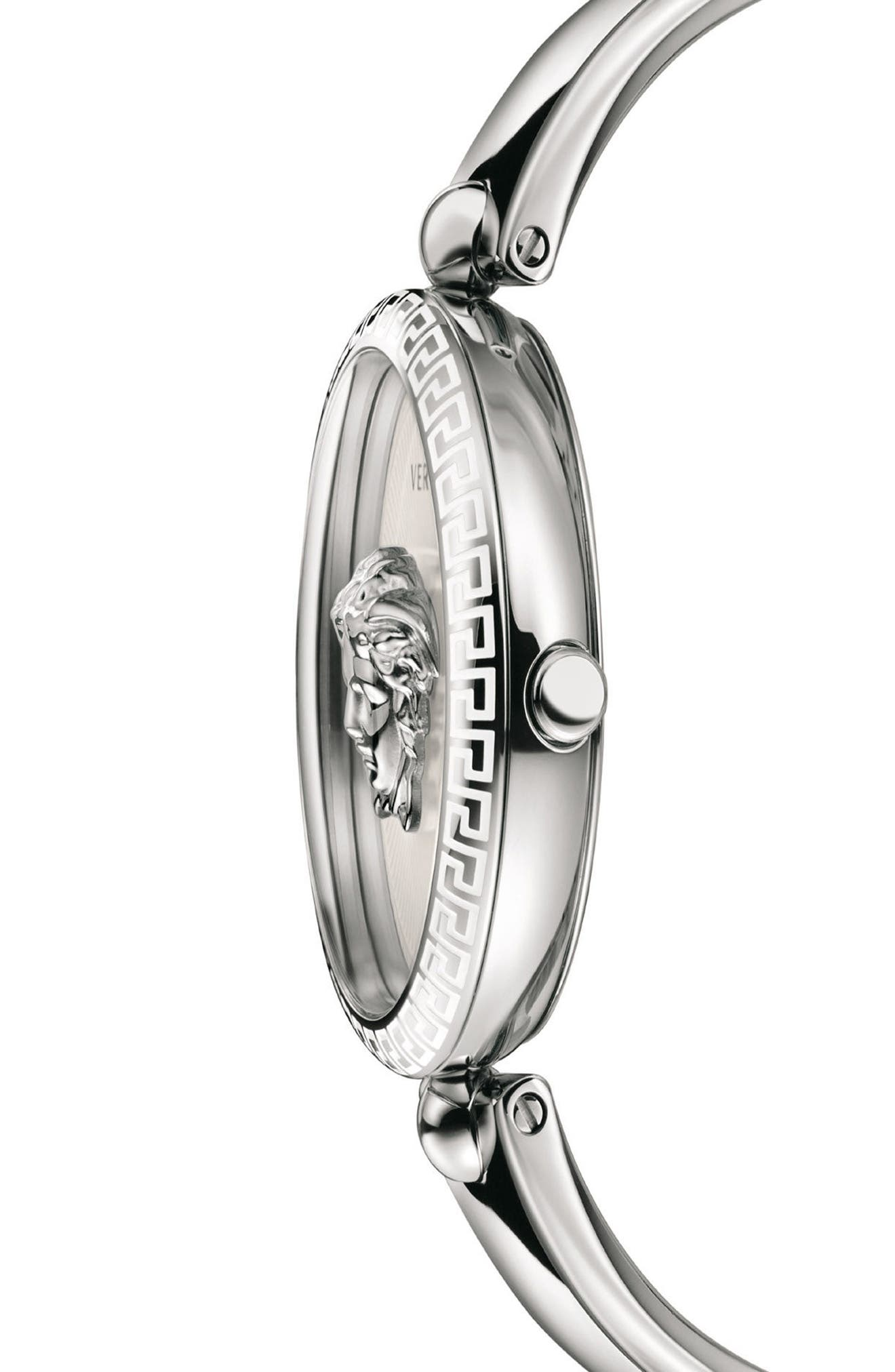 VERSACE,                             Palazzo Empire Semi Bangle Bracelet Watch, 39mm,                             Alternate thumbnail 3, color,                             SILVER/ WHITE/ SILVER