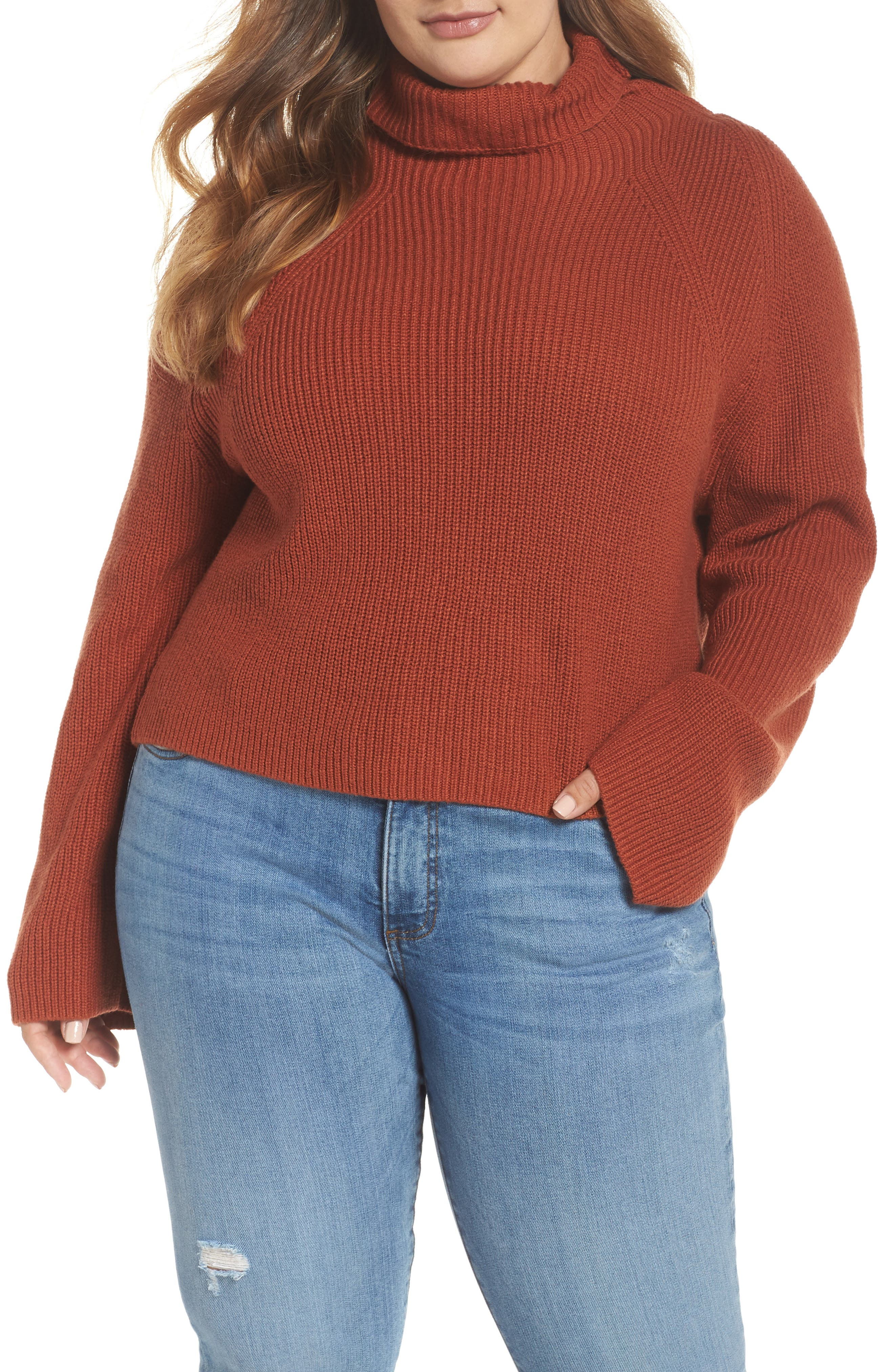 Transfer Stitch Turtleneck Sweater,                             Alternate thumbnail 2, color,                             BROWN SPICE