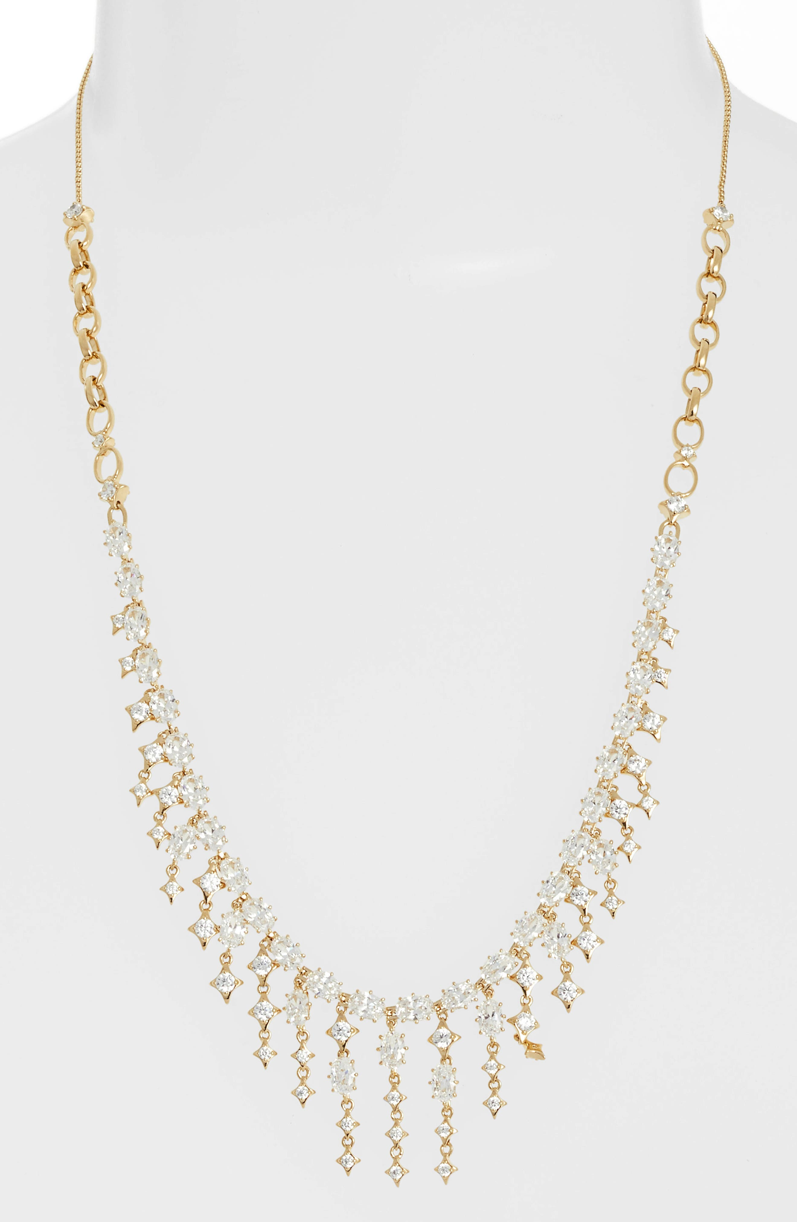 Crystal Fringe Necklace,                             Main thumbnail 1, color,                             GOLD/ CLEAR