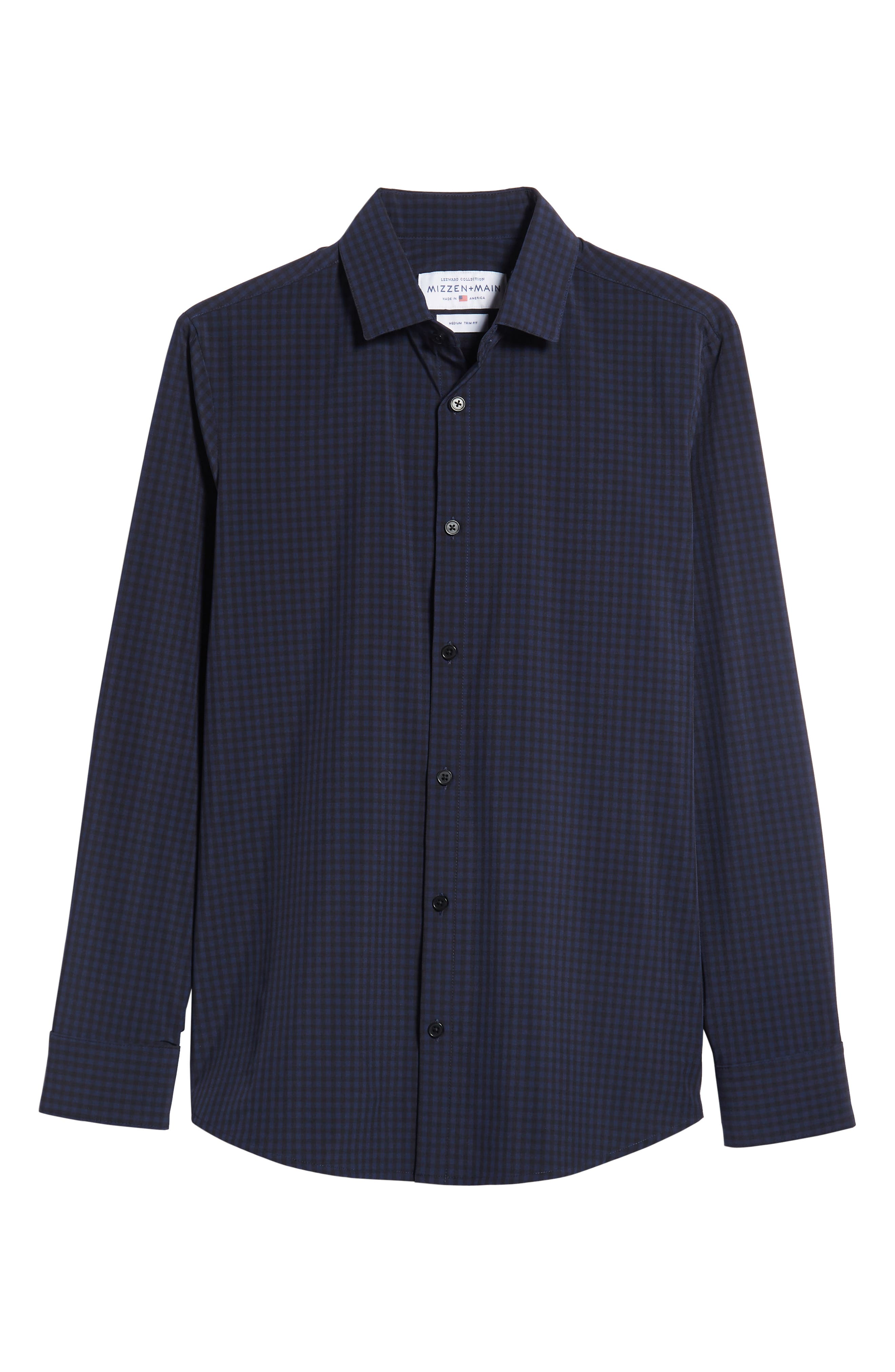 Burns Slim Fit Check Performance Sport Shirt,                             Alternate thumbnail 5, color,                             BLACK