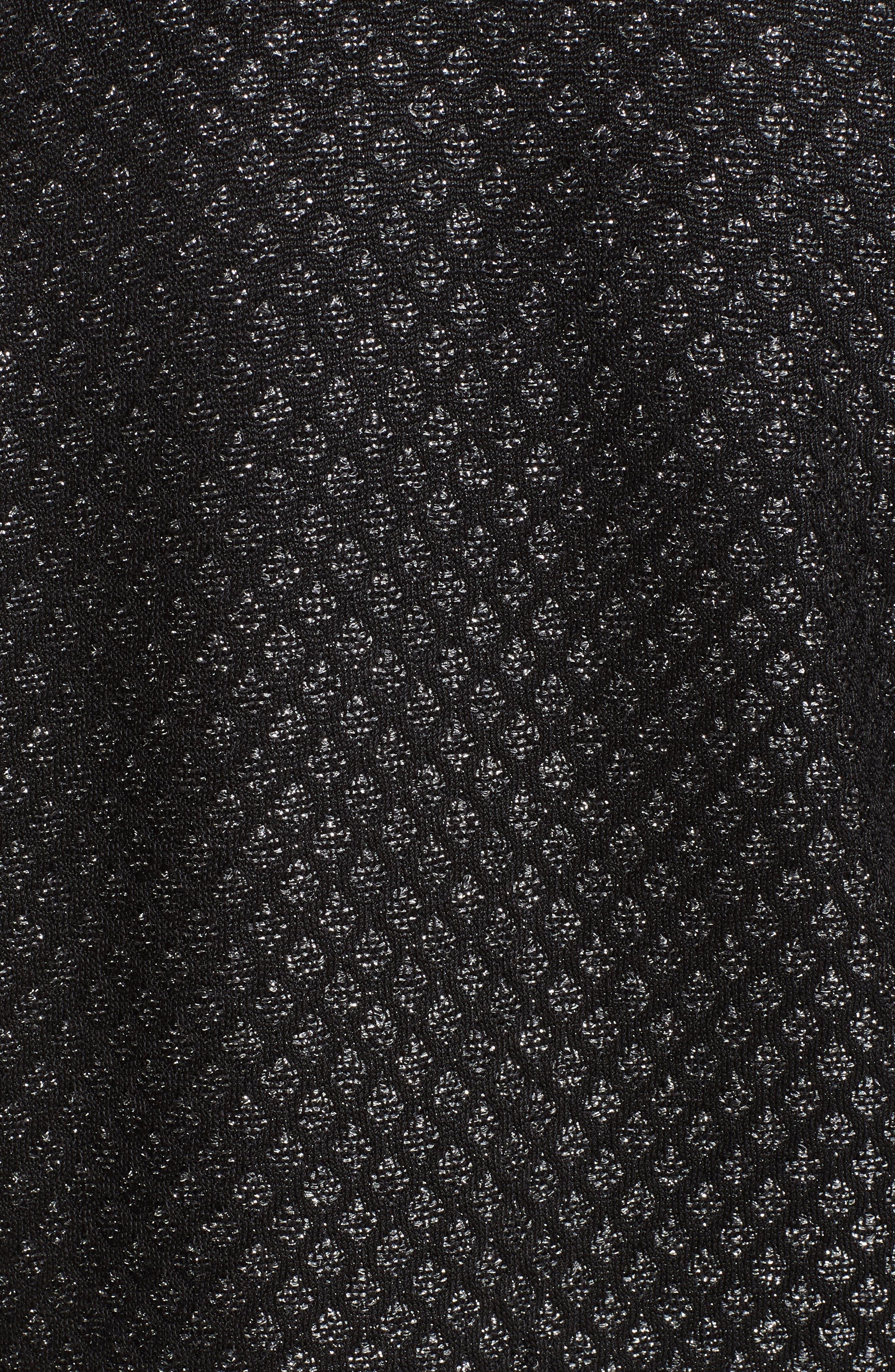 Shimmer Inlay Brocade Knit Jacket,                             Alternate thumbnail 7, color,                             CAVIAR/ SILVER