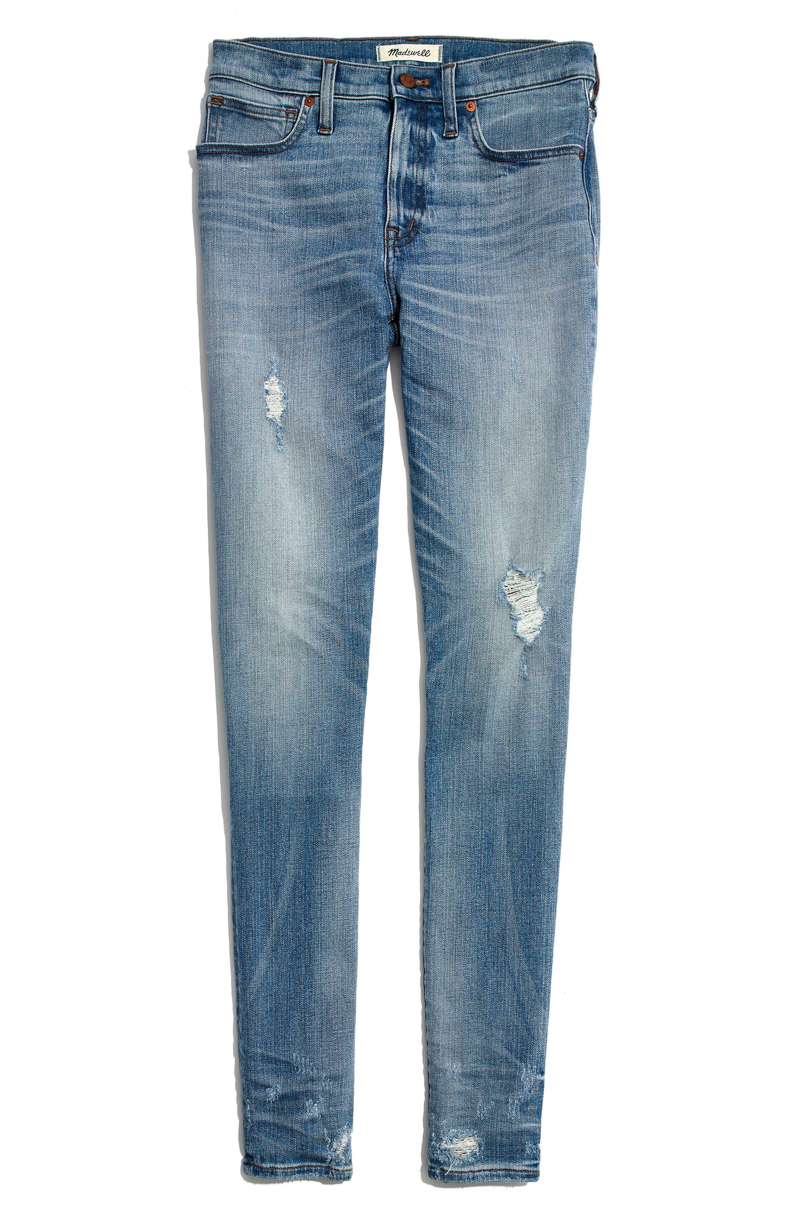 MADEWELL,                             9-Inch Destructed Hem High Waist Skinny Jeans,                             Alternate thumbnail 4, color,                             400
