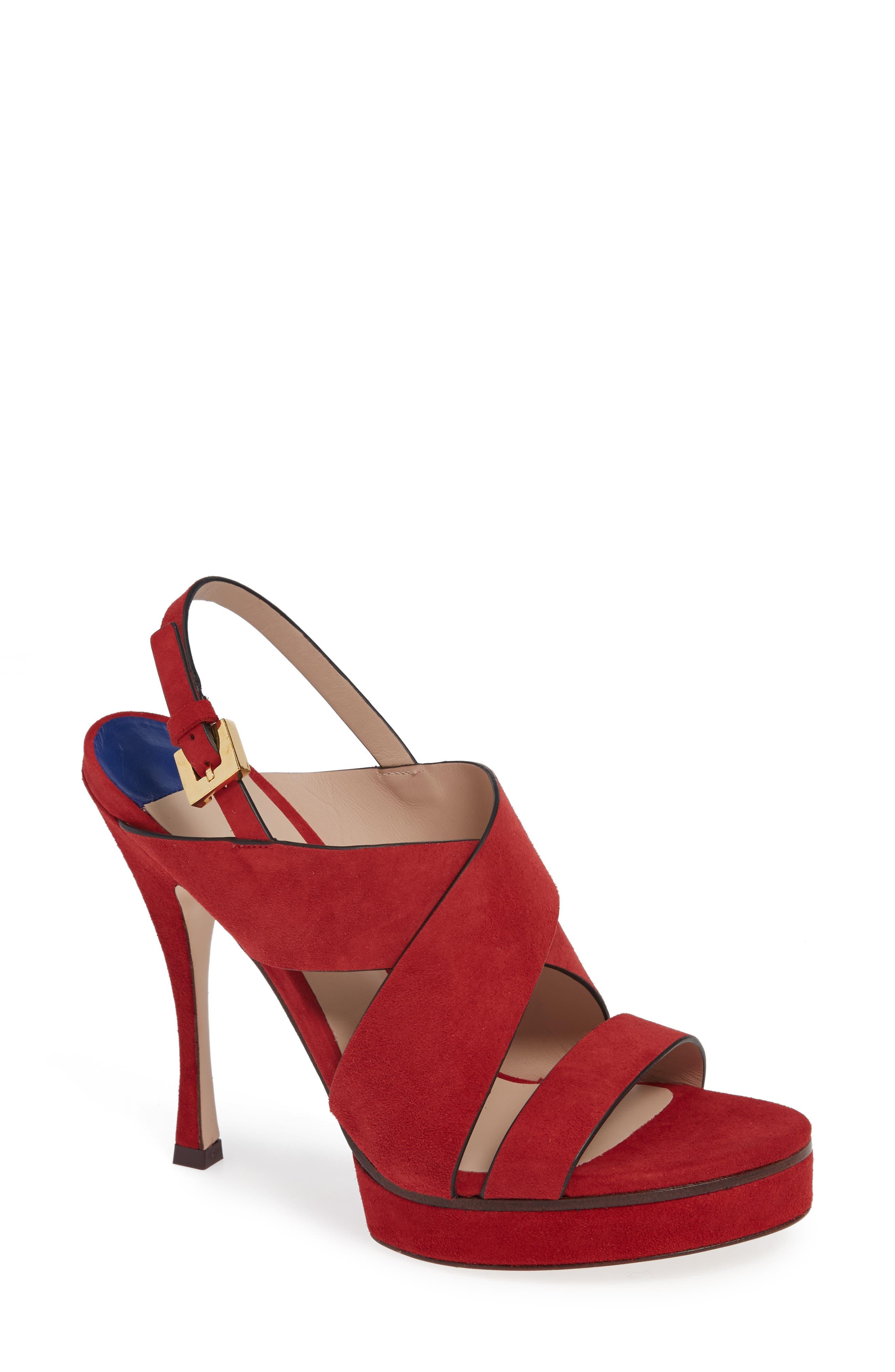 Stuart Weitzman Hester Cross Strap Sandal- Red