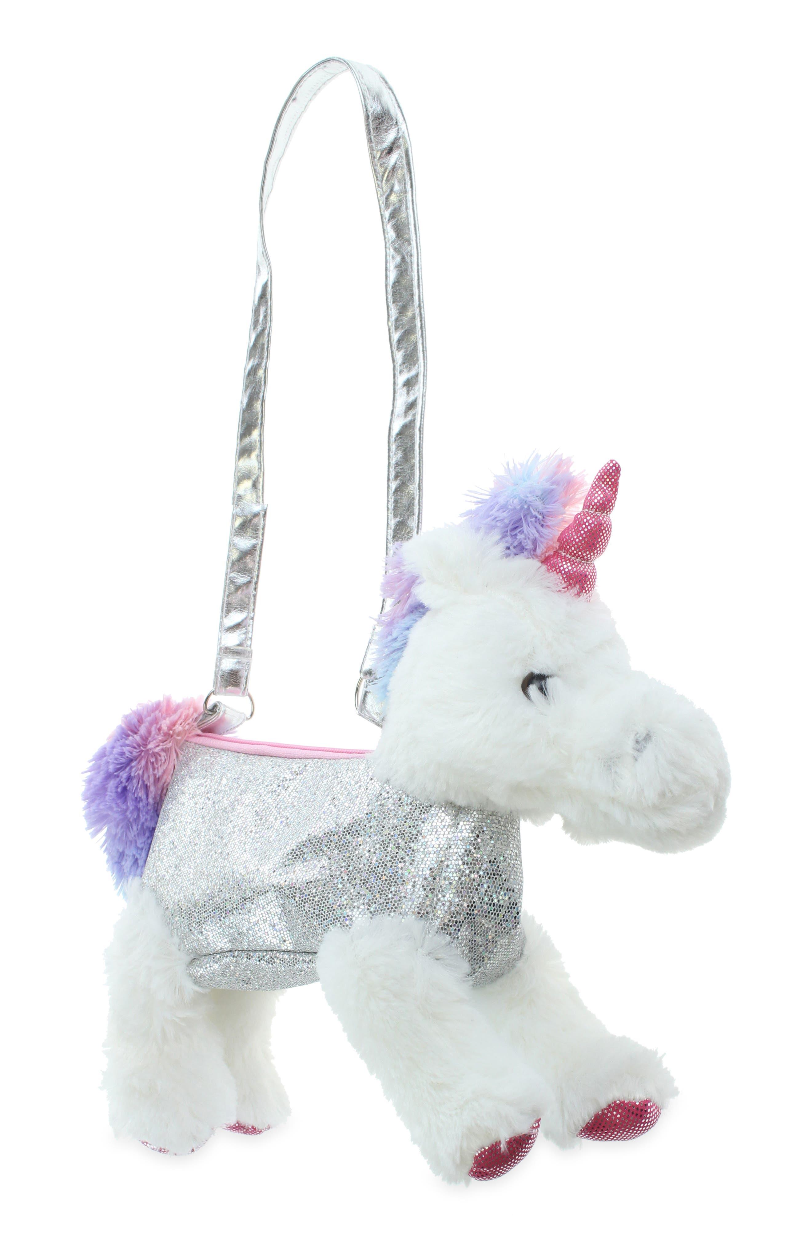 Girls Capelli New York Glitter Plush Unicorn Shoulder Bag  None
