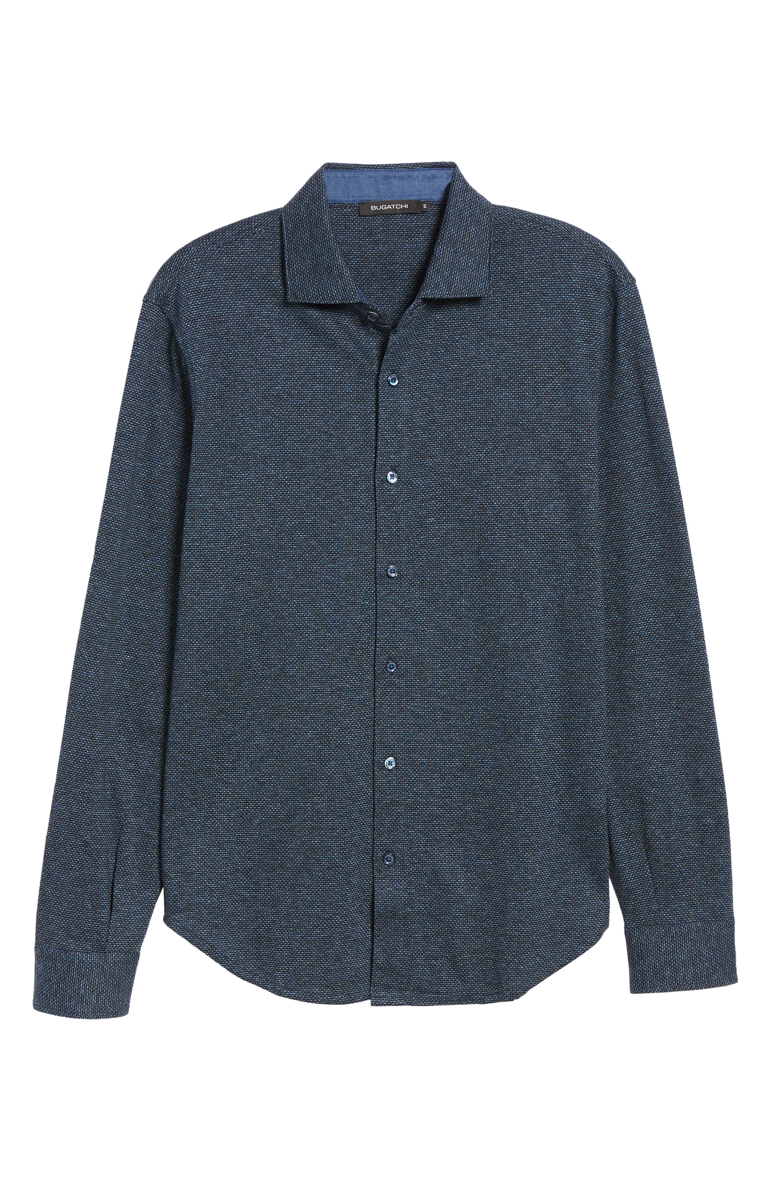 Shaped Fit Knit Sport Shirt,                             Alternate thumbnail 5, color,                             CHARCOAL