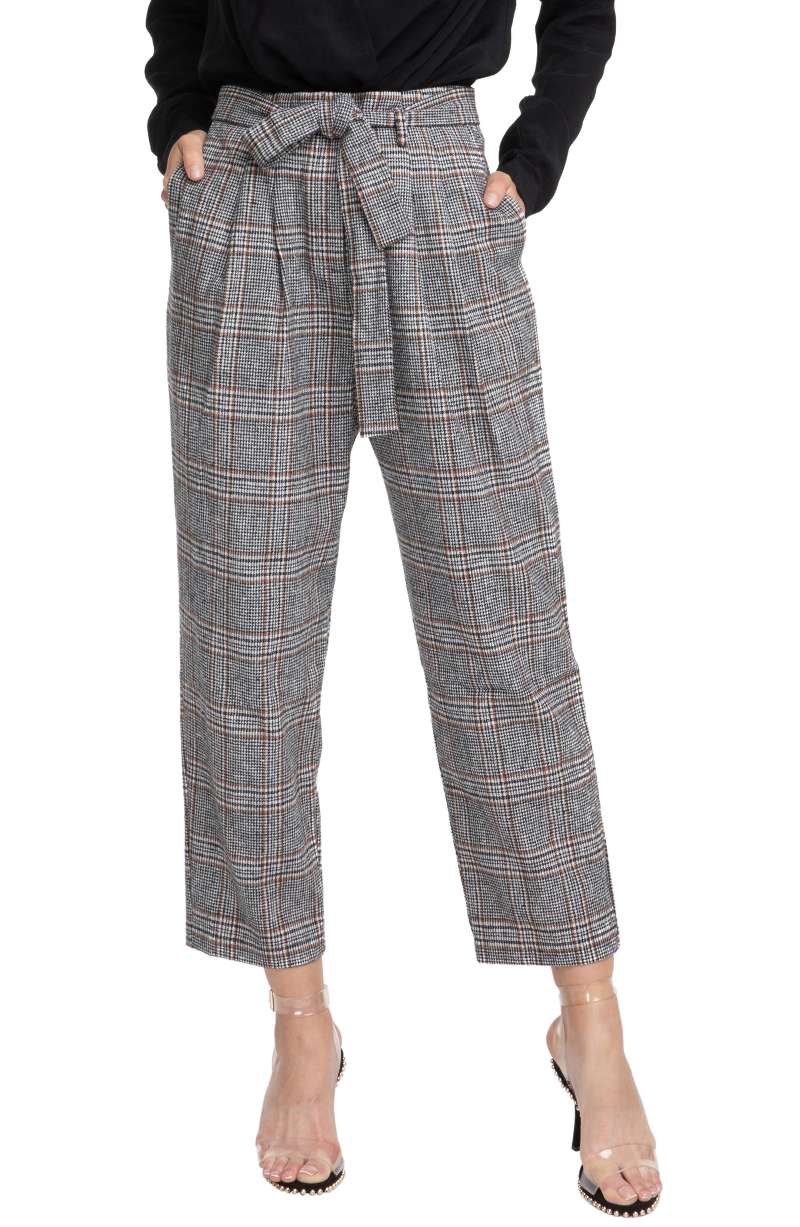 ASTR Tie Waist Trousers in Black/ Brown Combo
