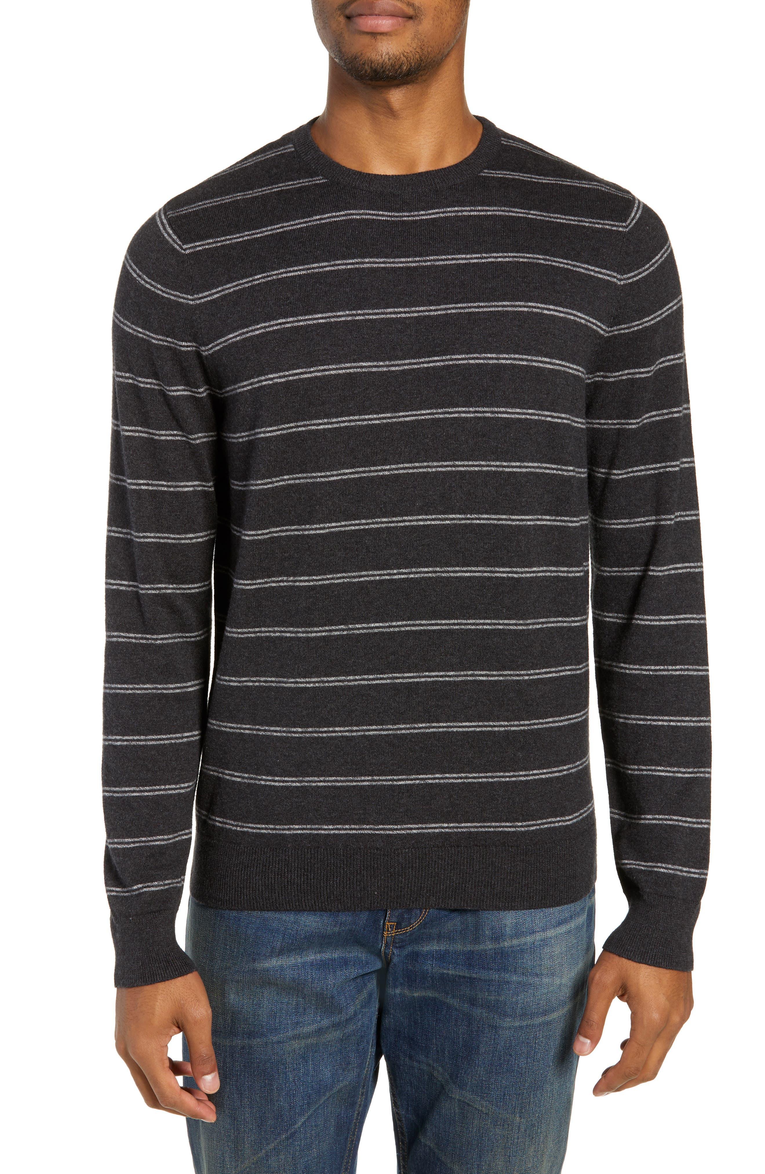 Nordstrom Shop Regular Fit Stripe Cotton & Cashmere Sweater, Grey