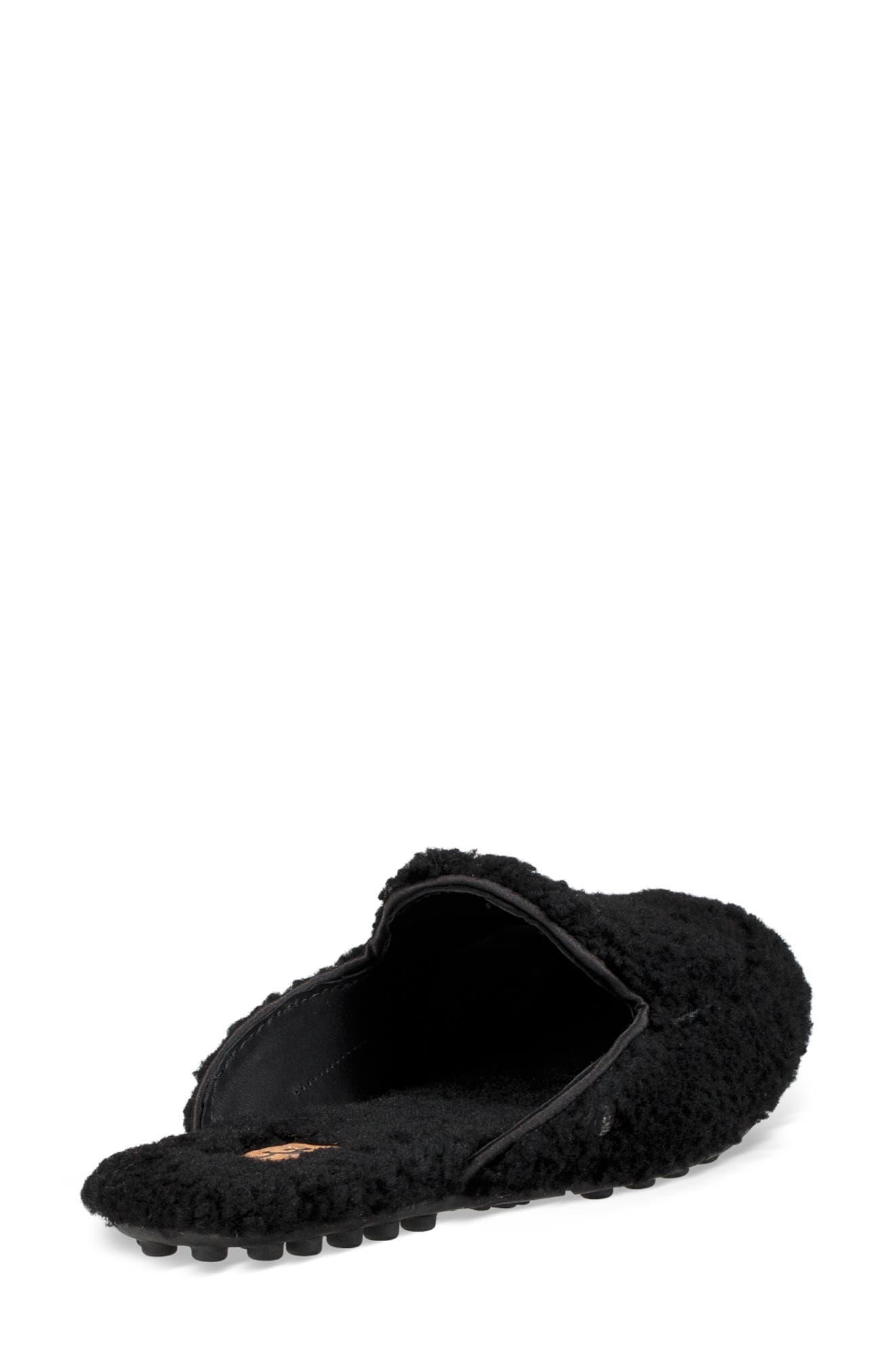 Lane Fluff Genuine Shearling Loafer Slipper,                             Alternate thumbnail 2, color,                             BLACK