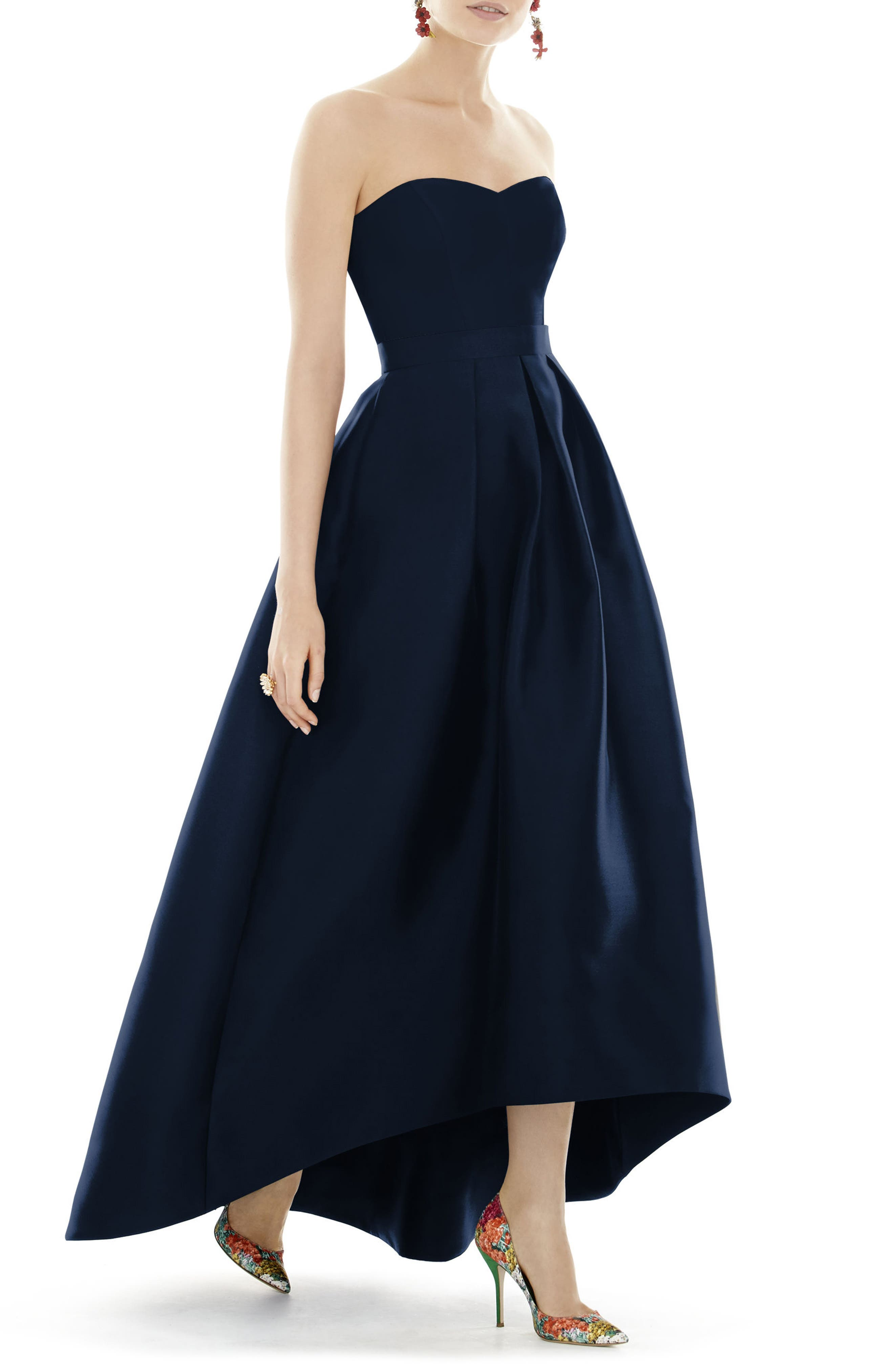 Alfred Sung Strapless High/low Sateen Twill Gown, Blue