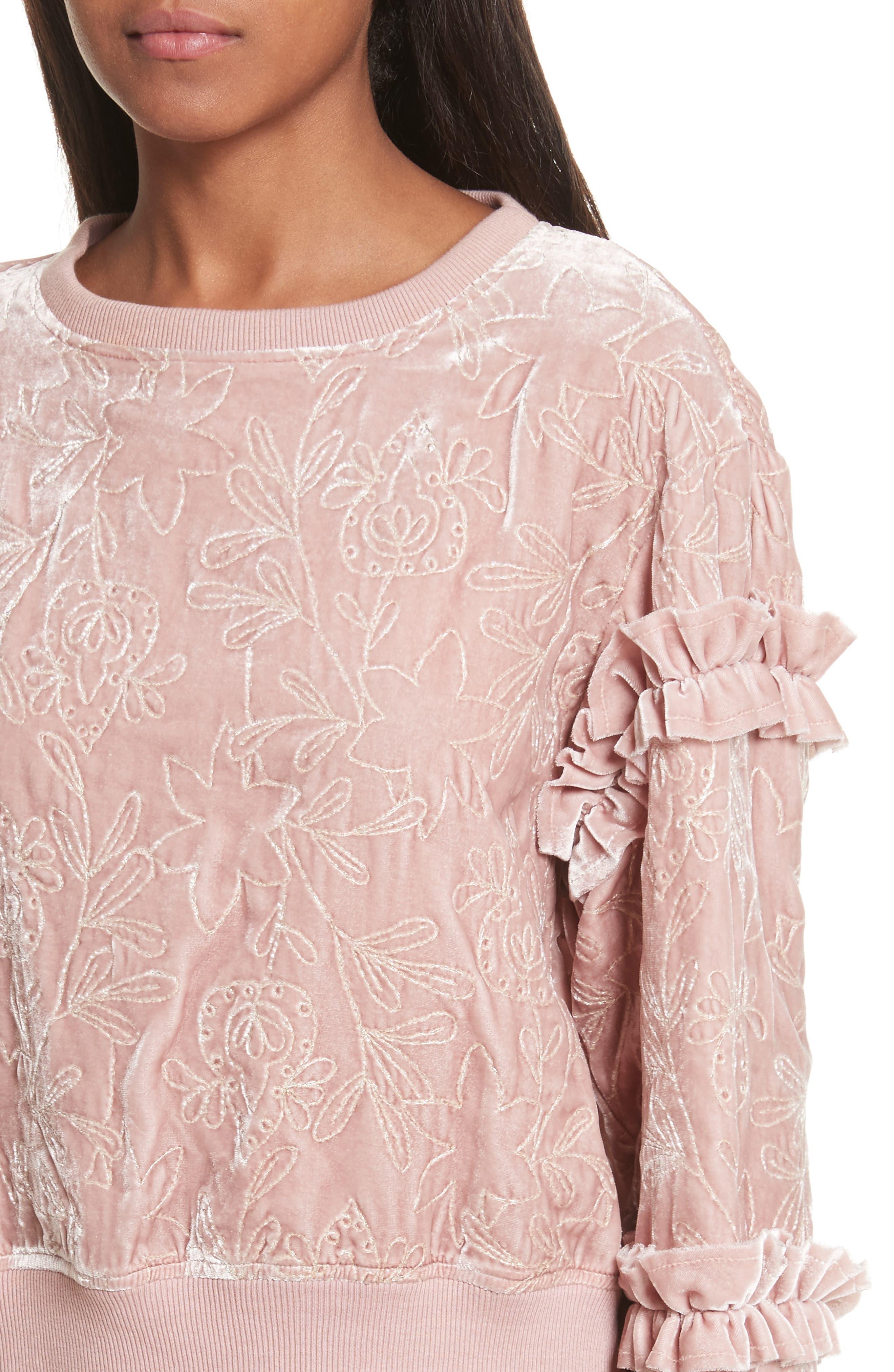 Nara Embroidered Velvet Sweatshirt,                             Alternate thumbnail 4, color,                             563