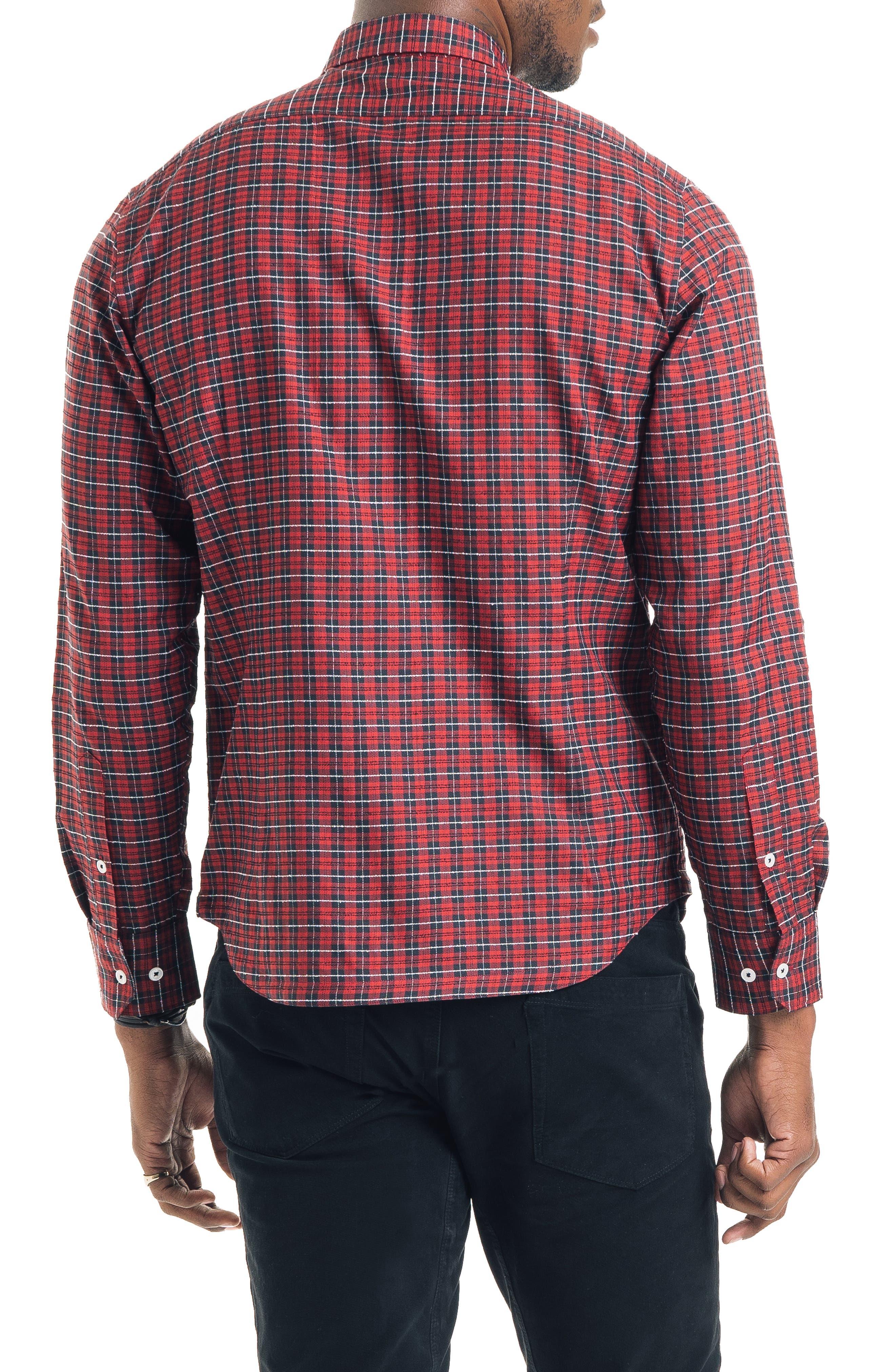 Slim Fit Tartan Plaid Sport Shirt,                             Alternate thumbnail 2, color,                             RED