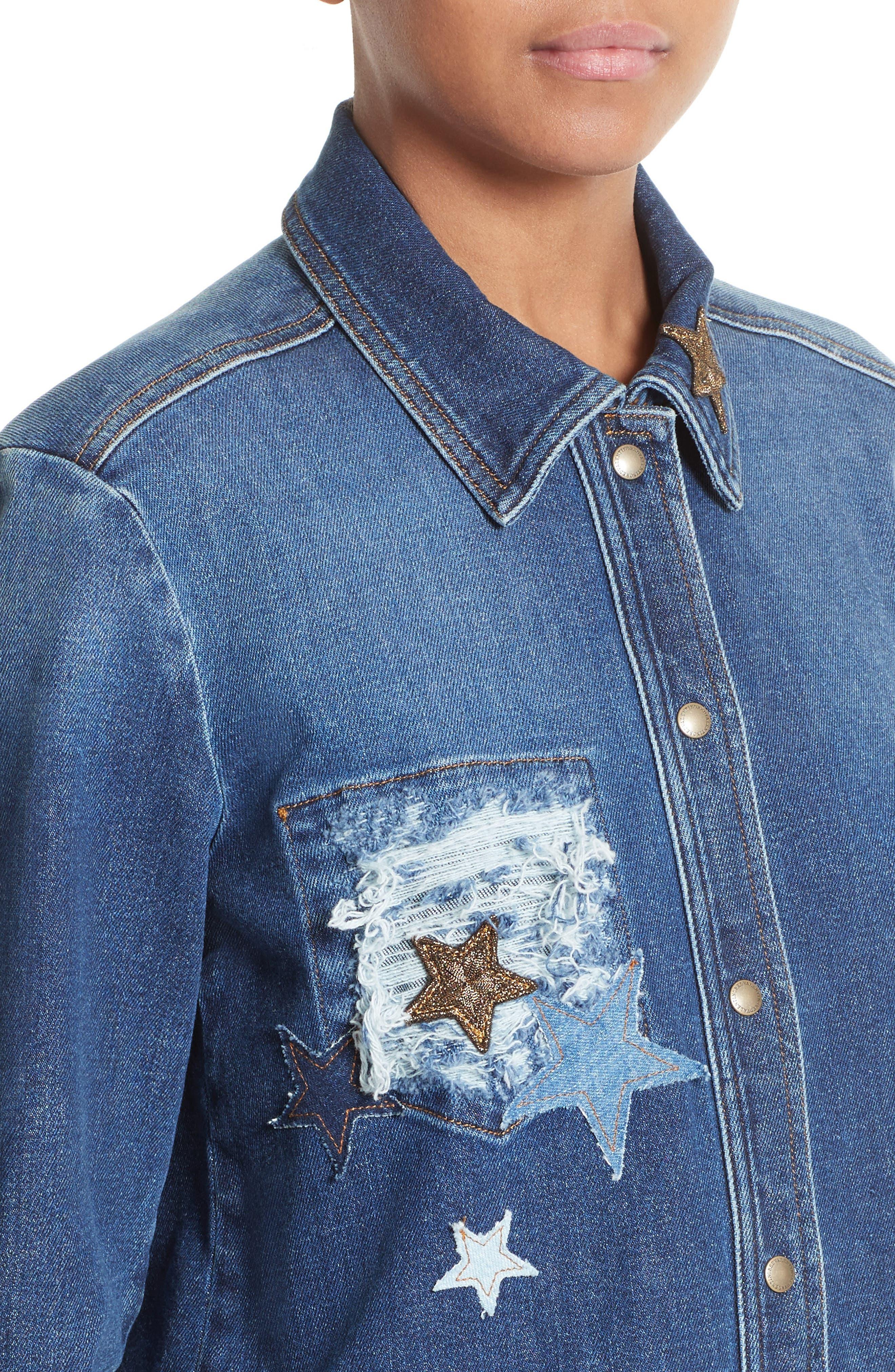 Stone Washed Denim Jacket,                             Alternate thumbnail 4, color,                             408