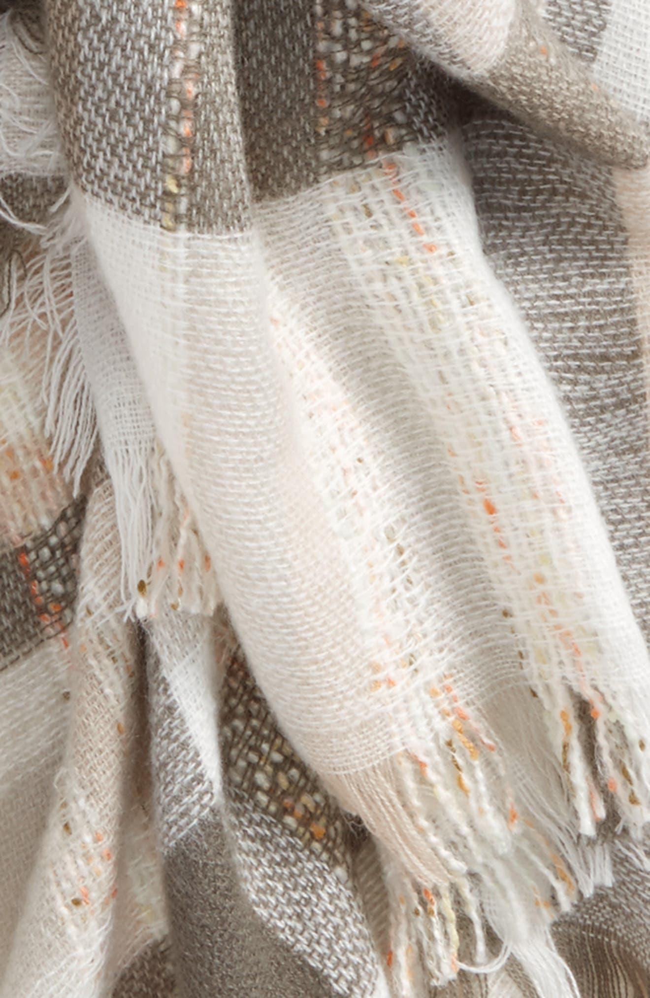 Plaid Tweed Scarf,                             Alternate thumbnail 3, color,                             020