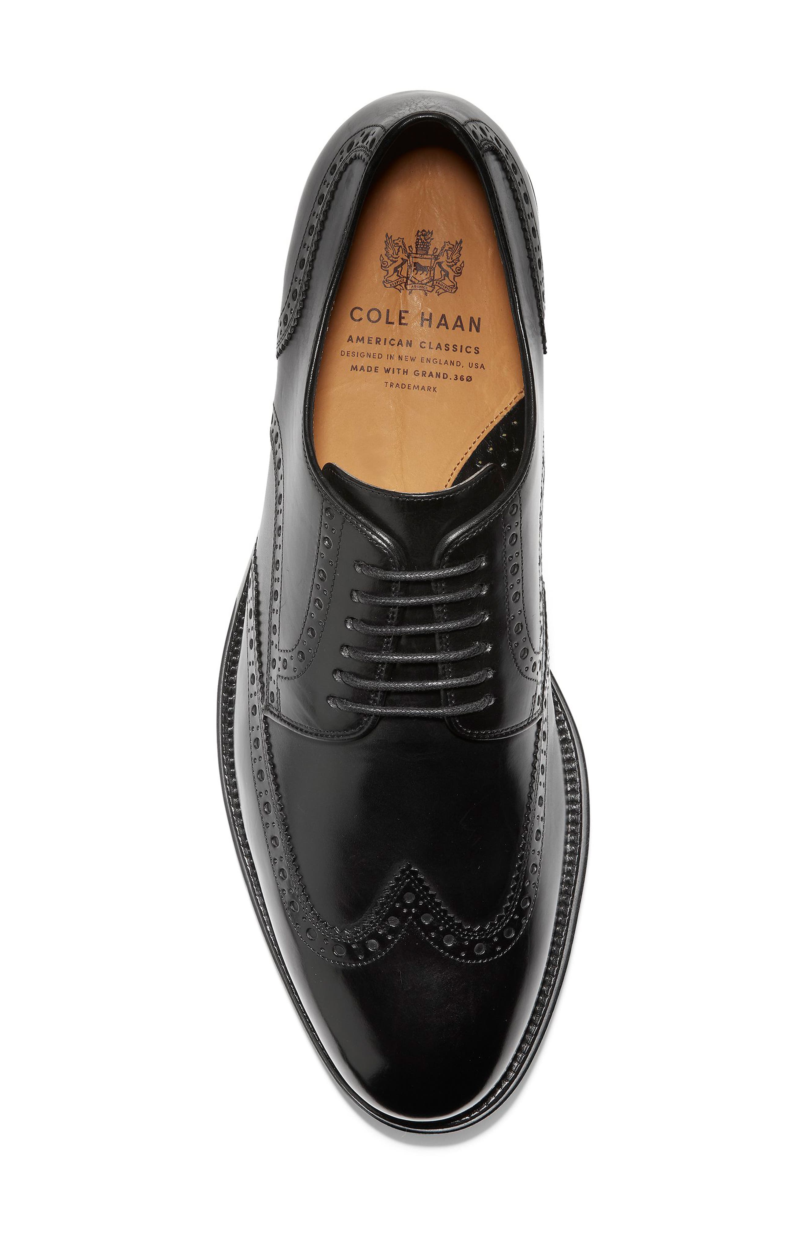 American Classics Grammercy Wingtip,                             Alternate thumbnail 4, color,                             BLACK LEATHER