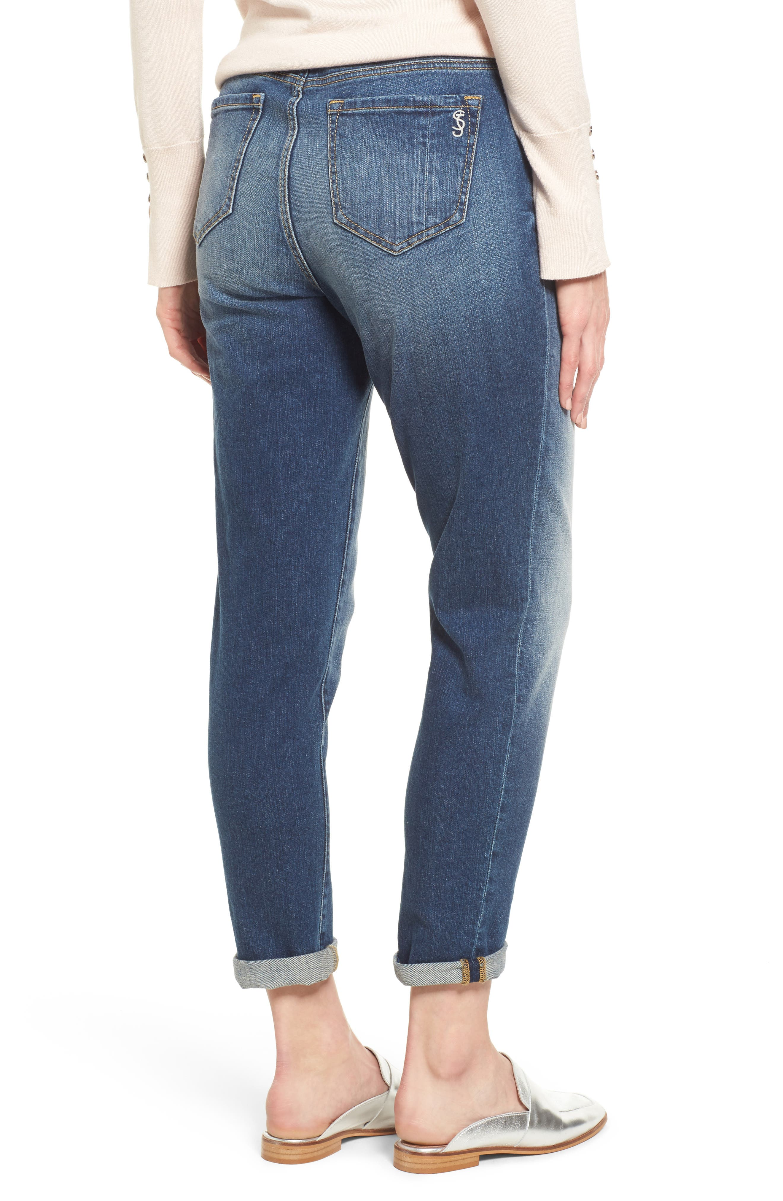 SLINK JEANS,                             Rolled Boyfriend Jeans,                             Alternate thumbnail 2, color,                             VAL