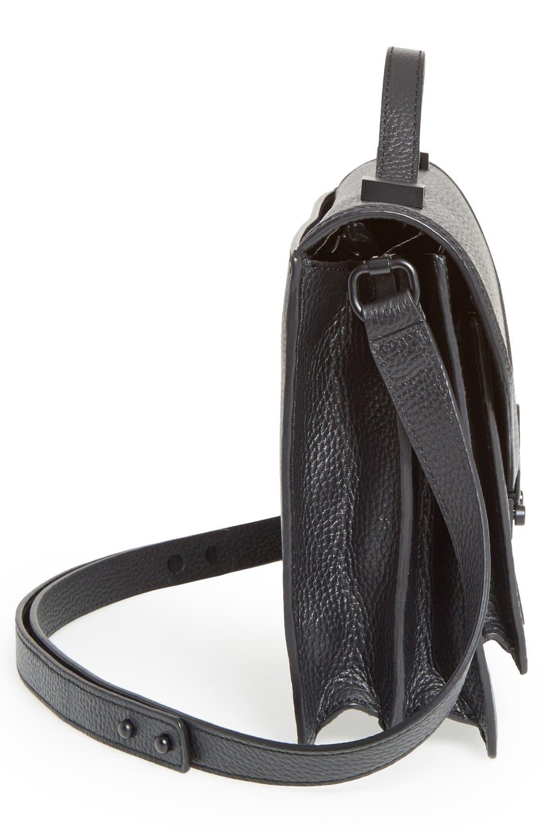 LOEFFLER RANDALL,                             'Medium Rider' Leather Top Handle Satchel,                             Alternate thumbnail 4, color,                             001