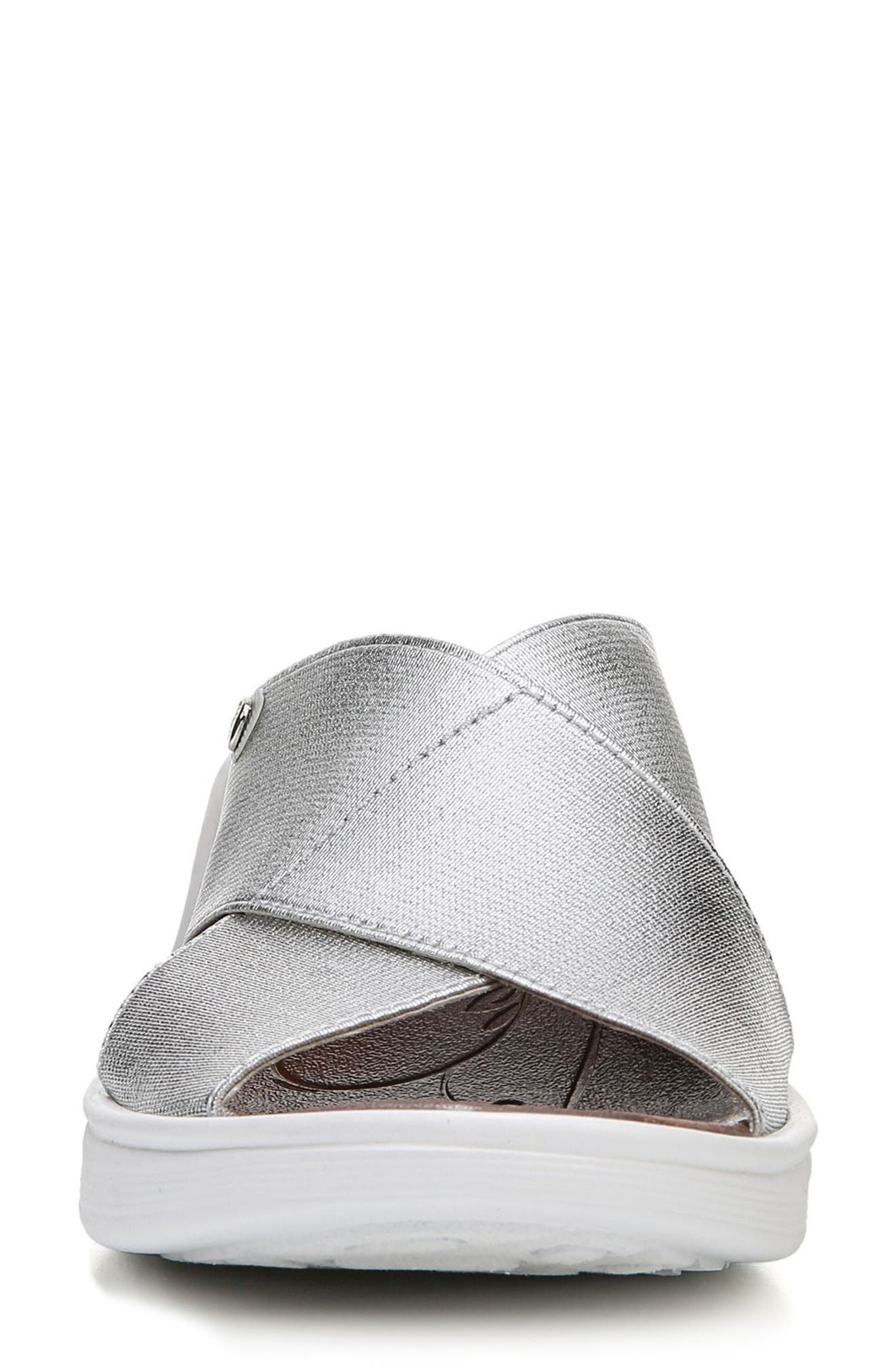 'Desire' Wedge Sandal,                             Alternate thumbnail 4, color,                             SILVER METALLIC