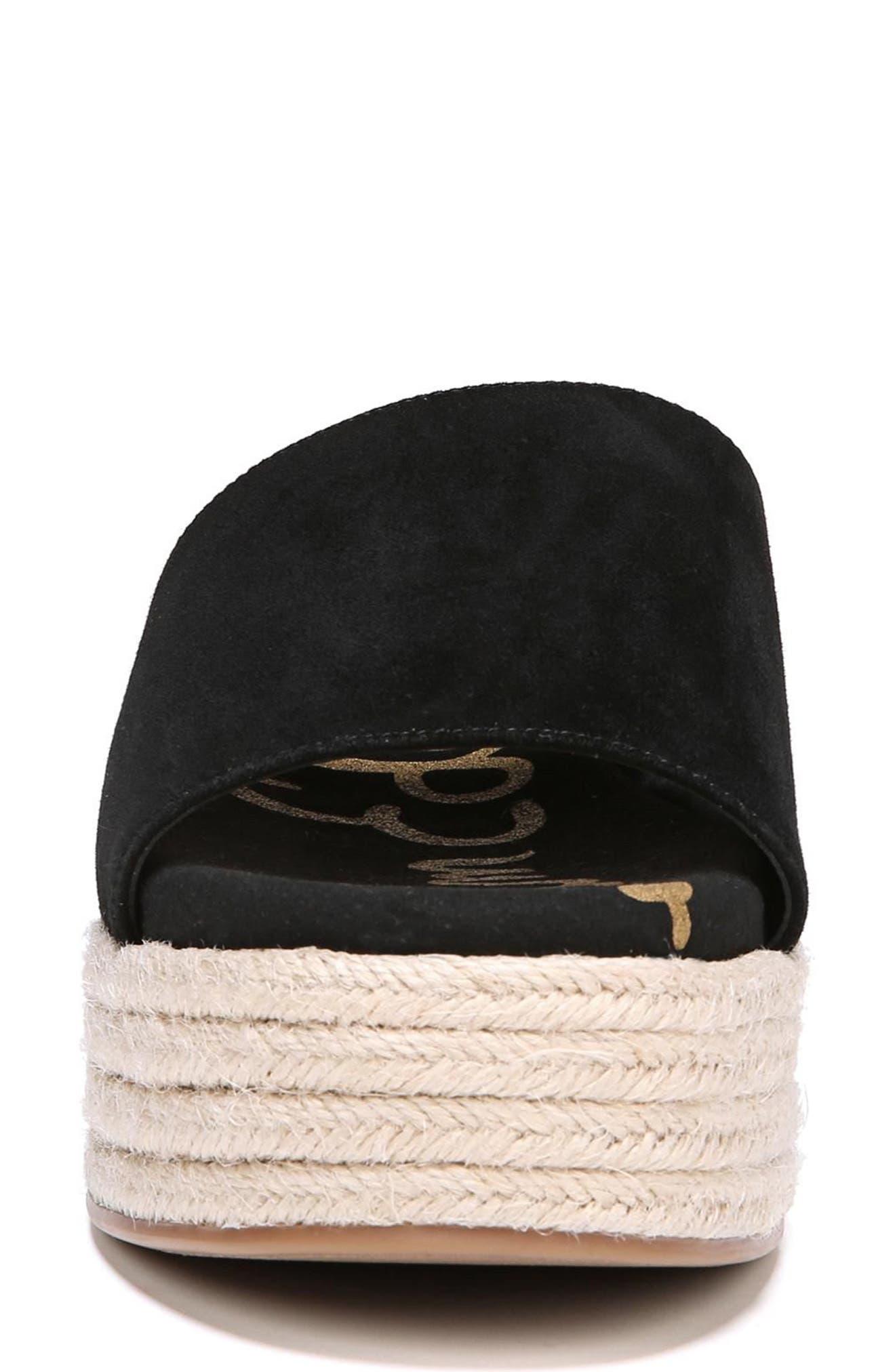 Weslee Platform Slide Sandal,                             Alternate thumbnail 4, color,                             BLACK SUEDE