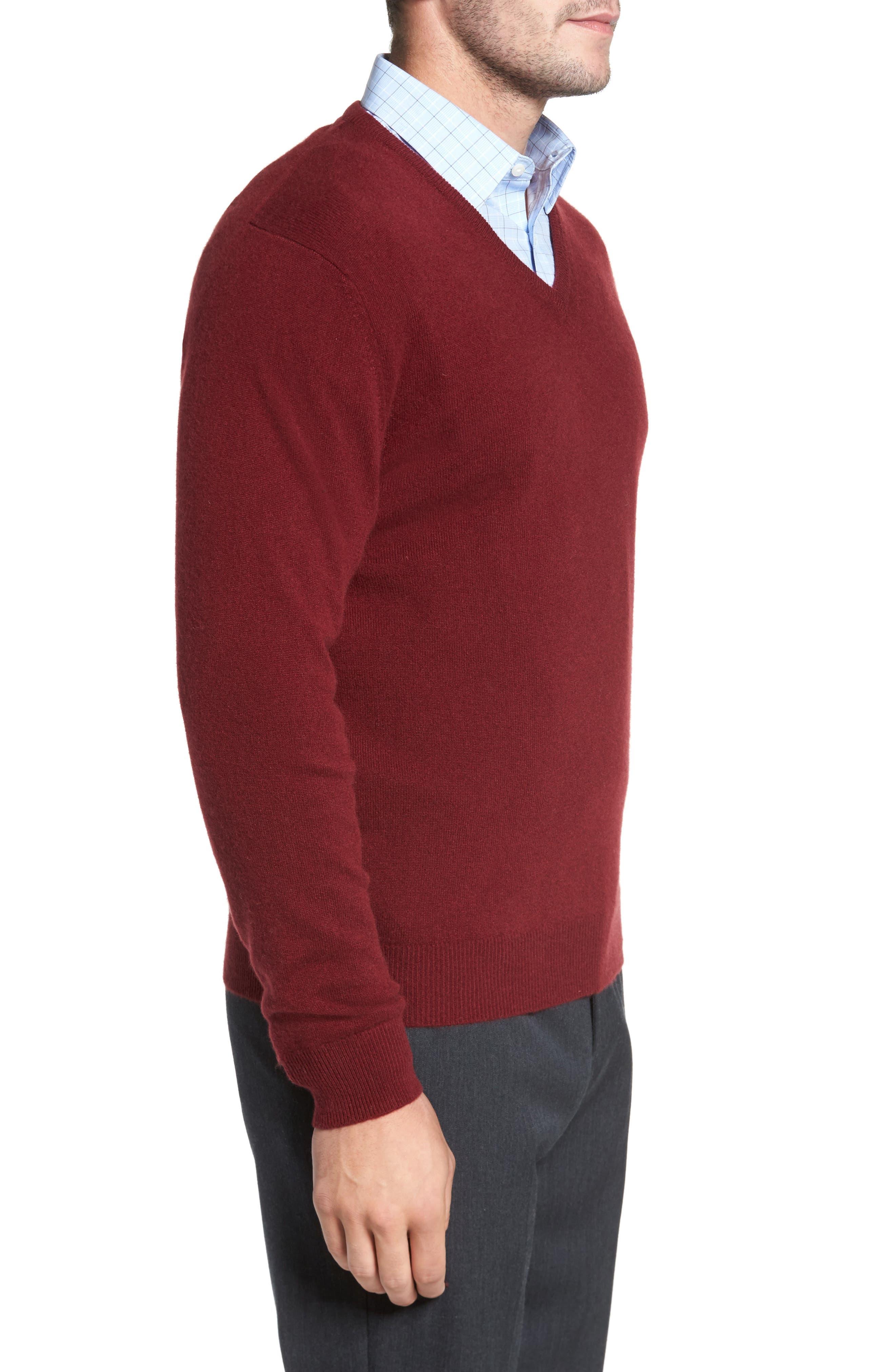 Cashmere V-Neck Sweater,                             Alternate thumbnail 18, color,
