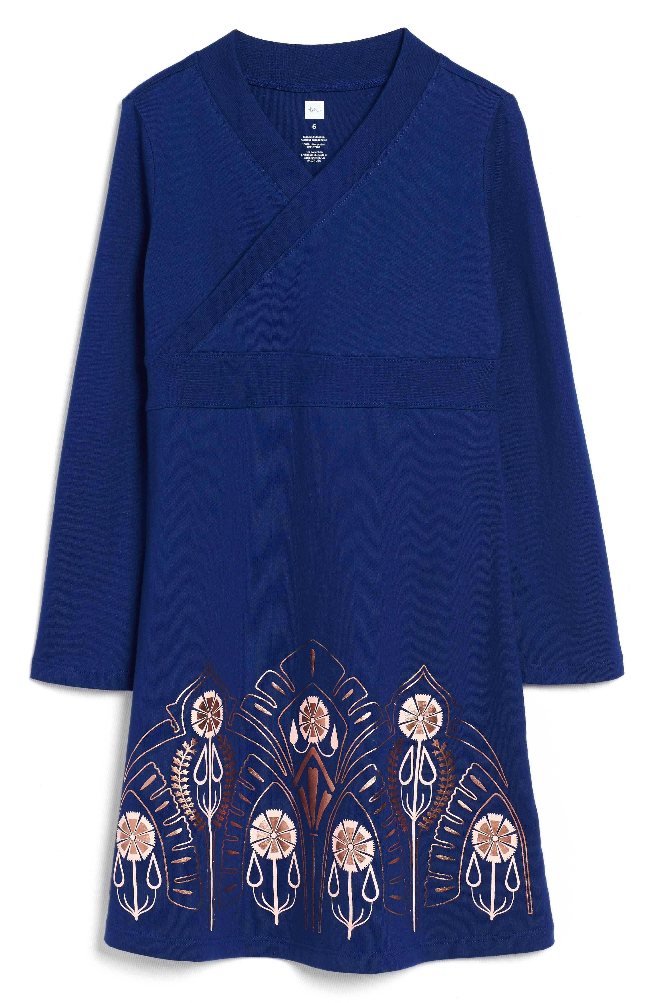 Merchant City Print Wrap Neck Dress,                         Main,                         color, 400