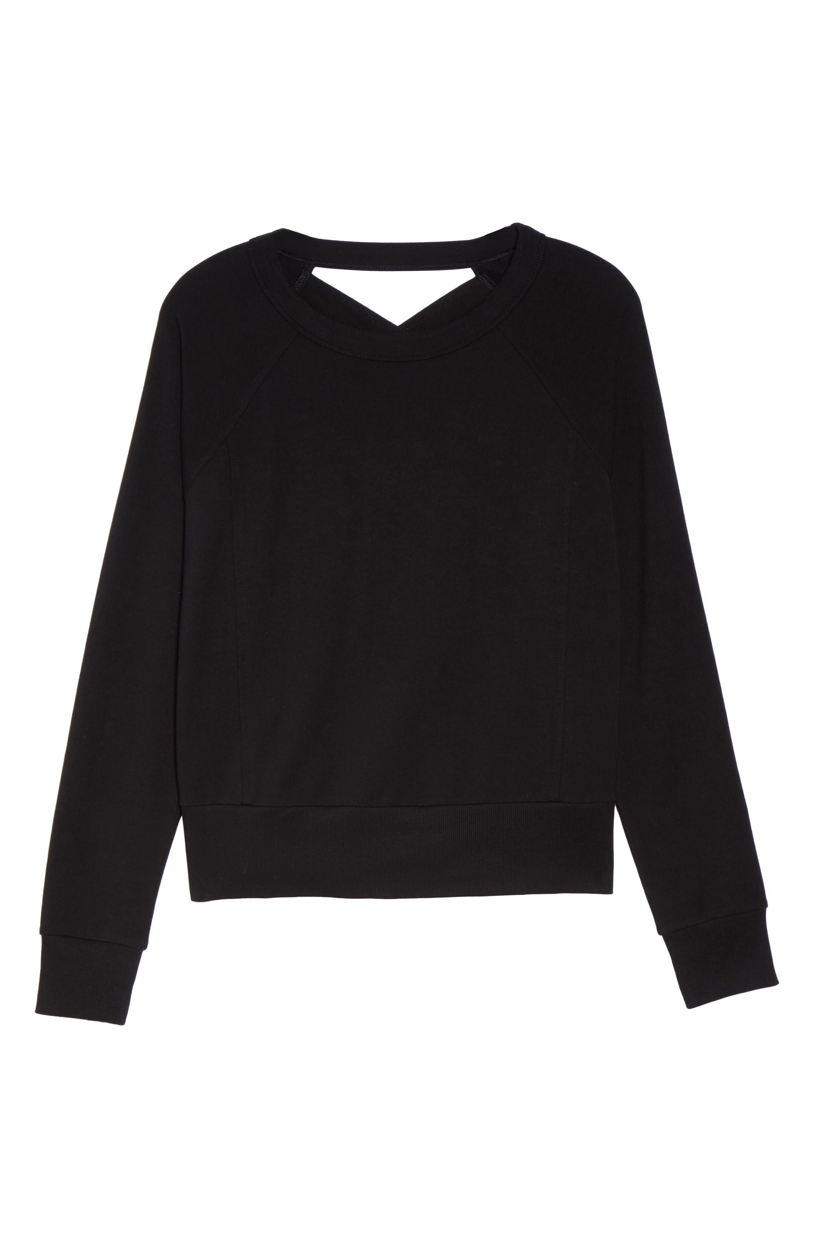 Covet Crisscross Sweatshirt,                             Alternate thumbnail 7, color,                             001