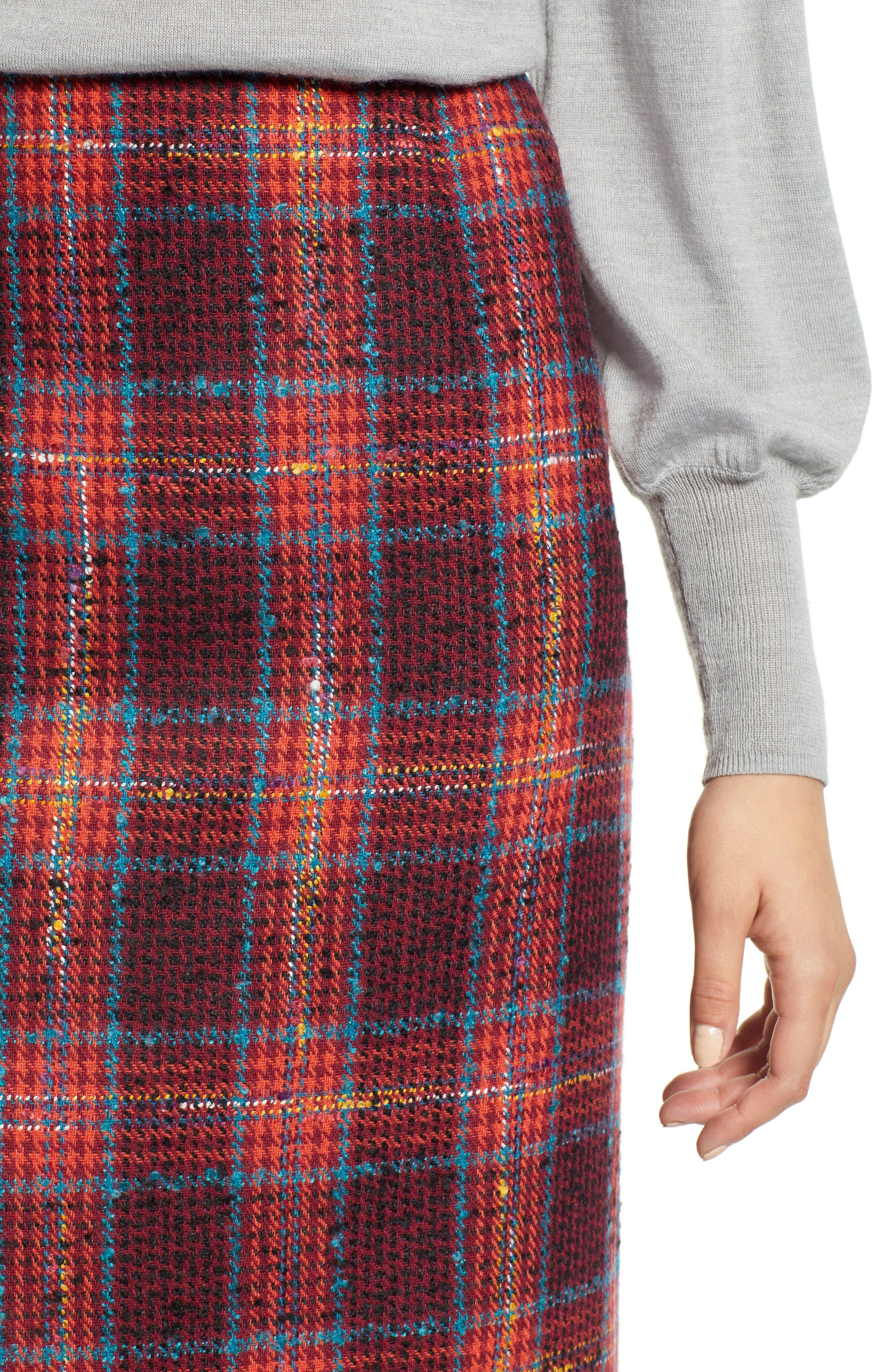 Plaid Tweed Pencil Skirt,                             Alternate thumbnail 4, color,                             RED MULTI PLAID