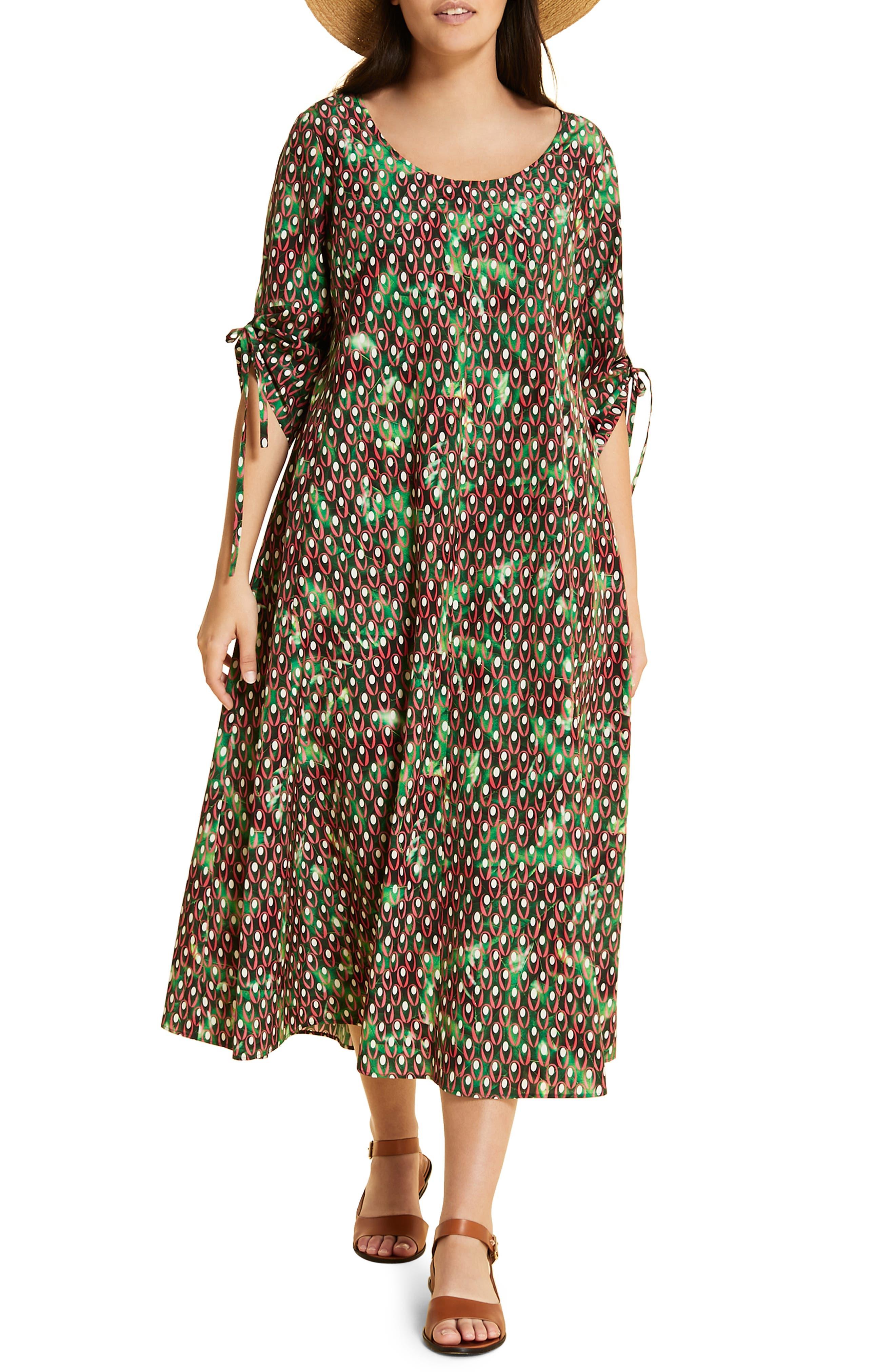 Plus Size Marina Rinaldi Dispensa Ruched Sleeve Cotton Dress, White
