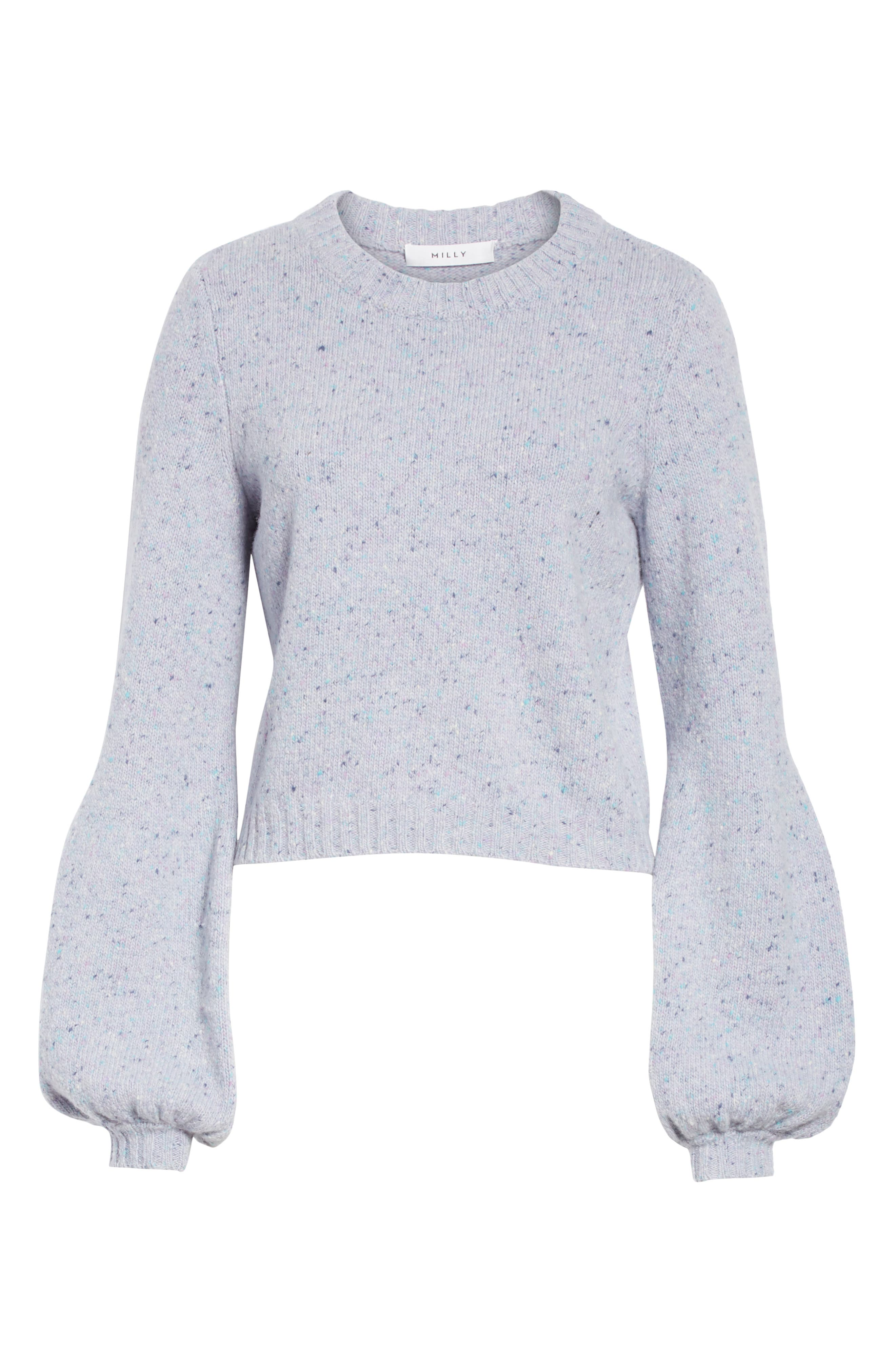 Bell Sleeve Wool Blend Sweater,                             Alternate thumbnail 6, color,                             BABY BLUE