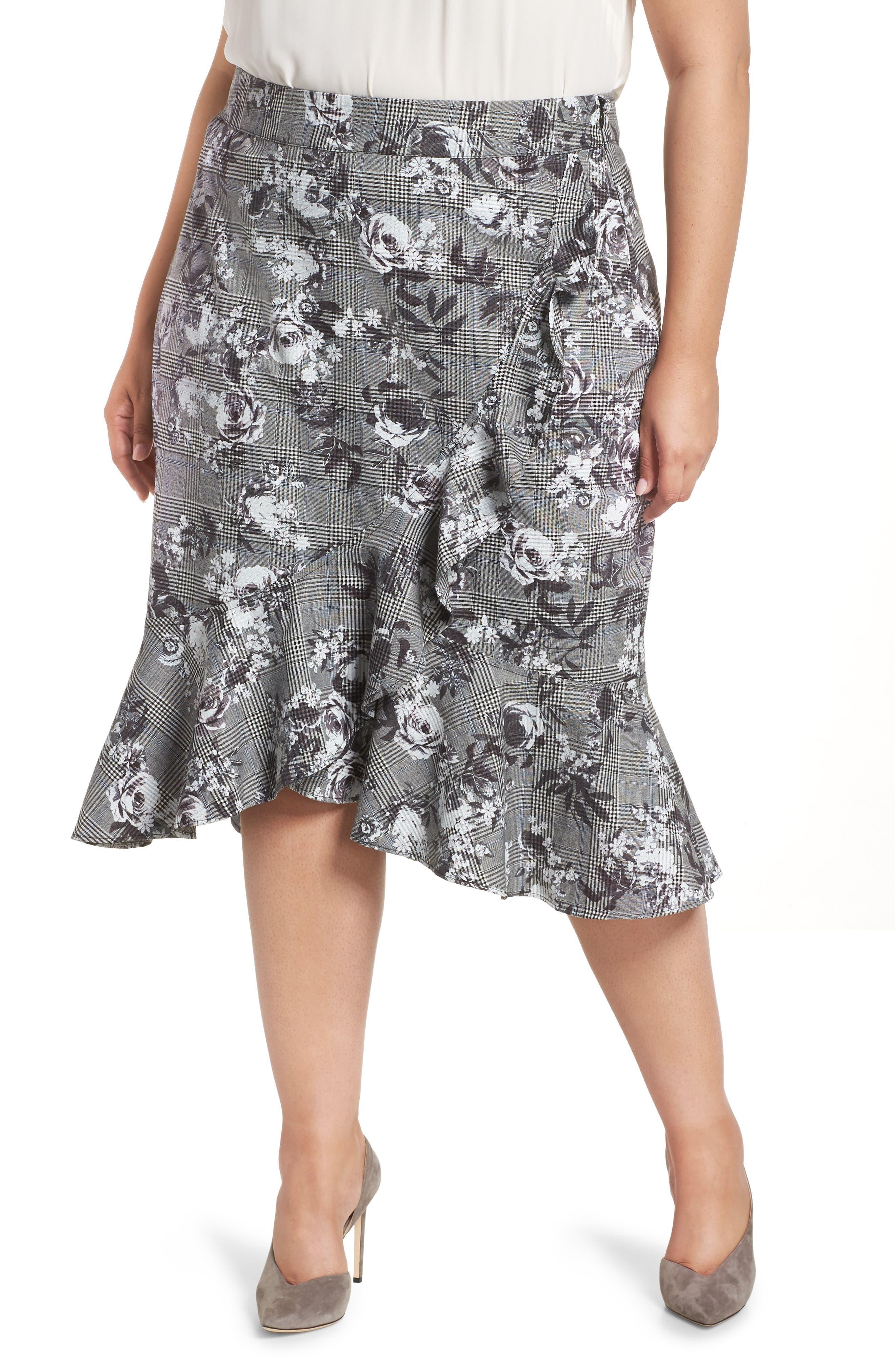 Bailen Pattern Mix Skirt,                             Main thumbnail 1, color,                             GREY COMBO