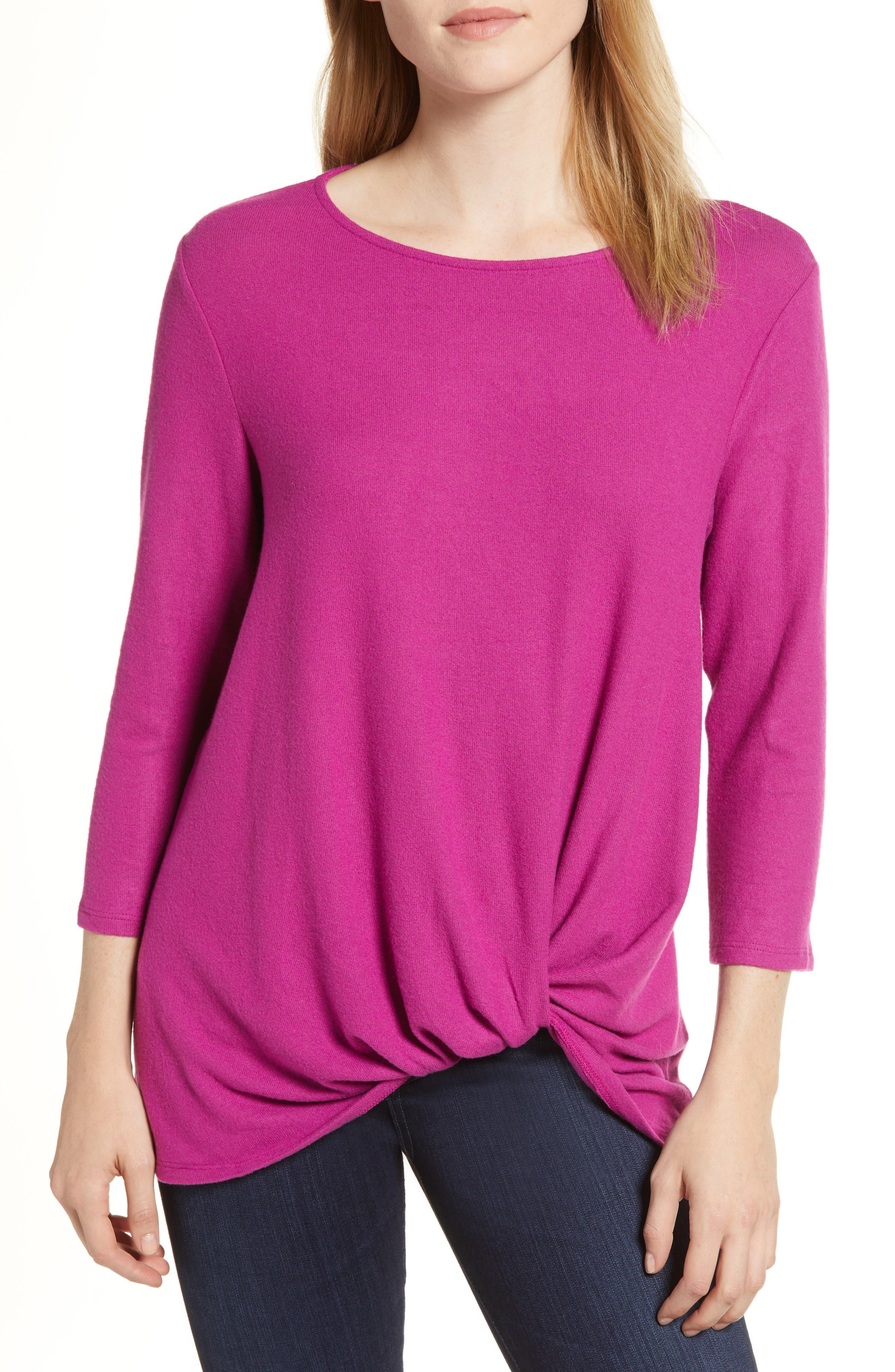 Cozy Twist Front Pullover,                             Main thumbnail 1, color,                             PURPLE VINTER SOLID