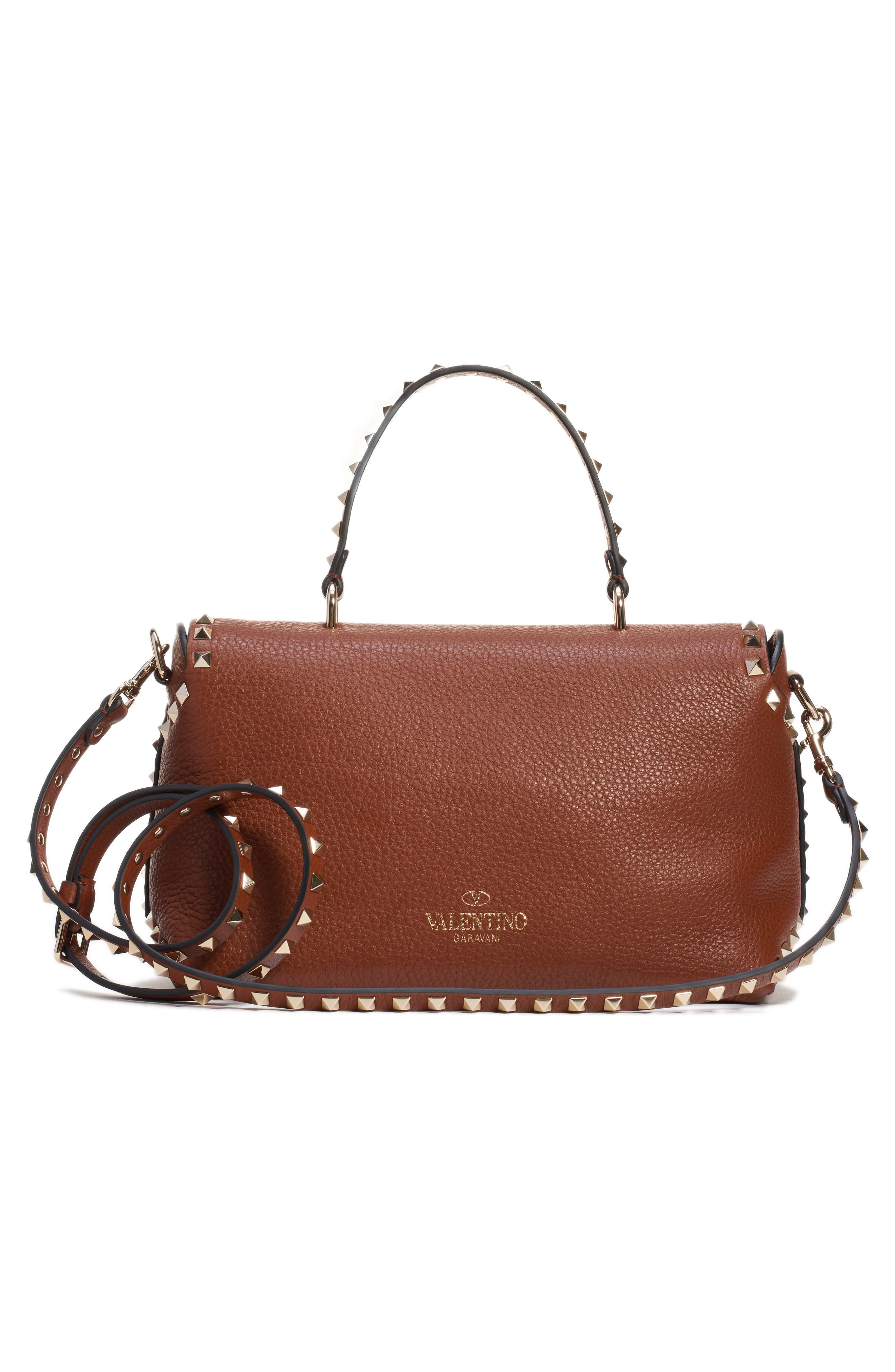 Medium Rockstud Leather Crossbody Bag,                             Alternate thumbnail 3, color,                             BRIGHT COGNAC