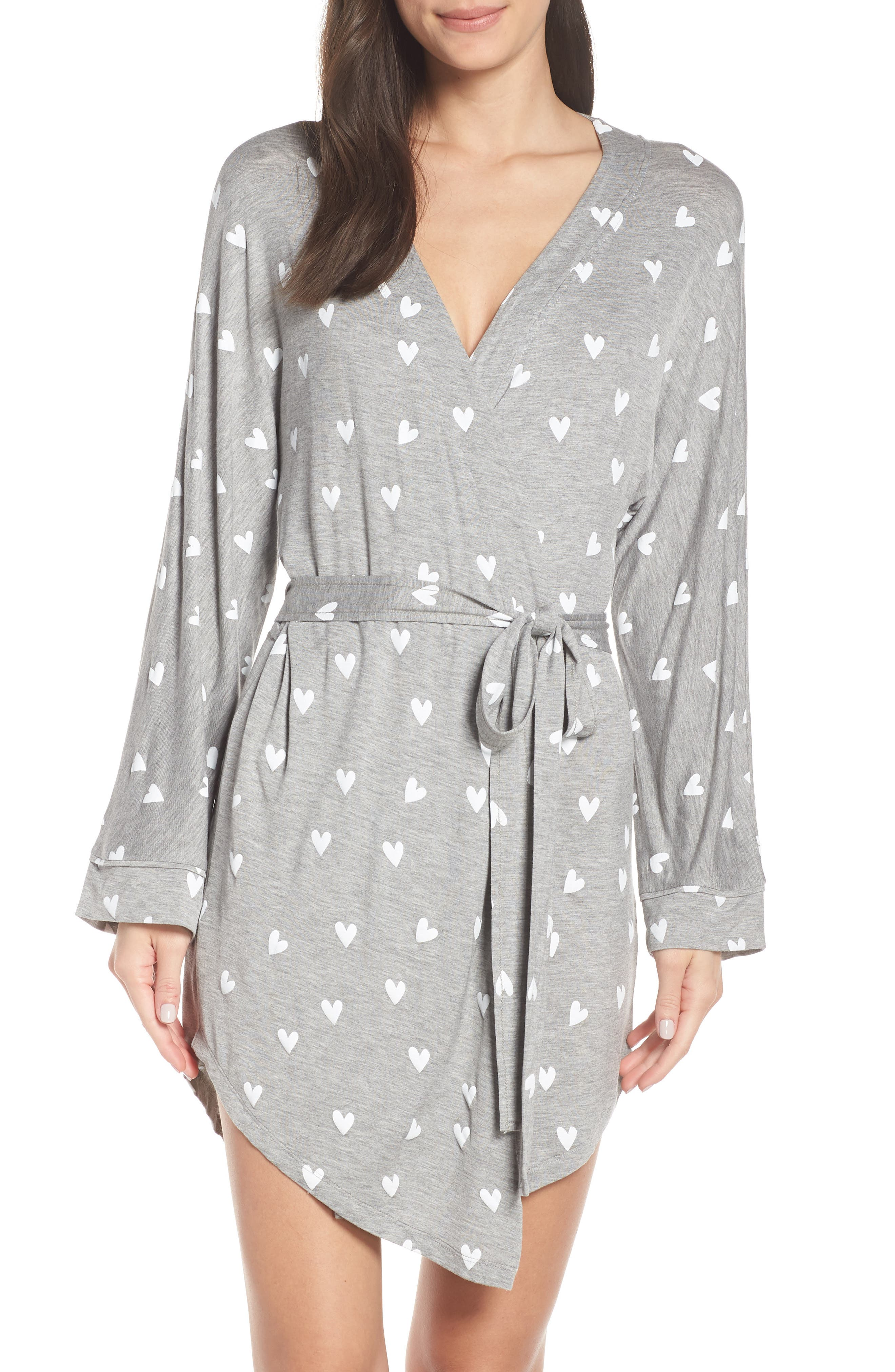 HONEYDEW INTIMATES All American Jersey Robe in Heather Grey Hearts