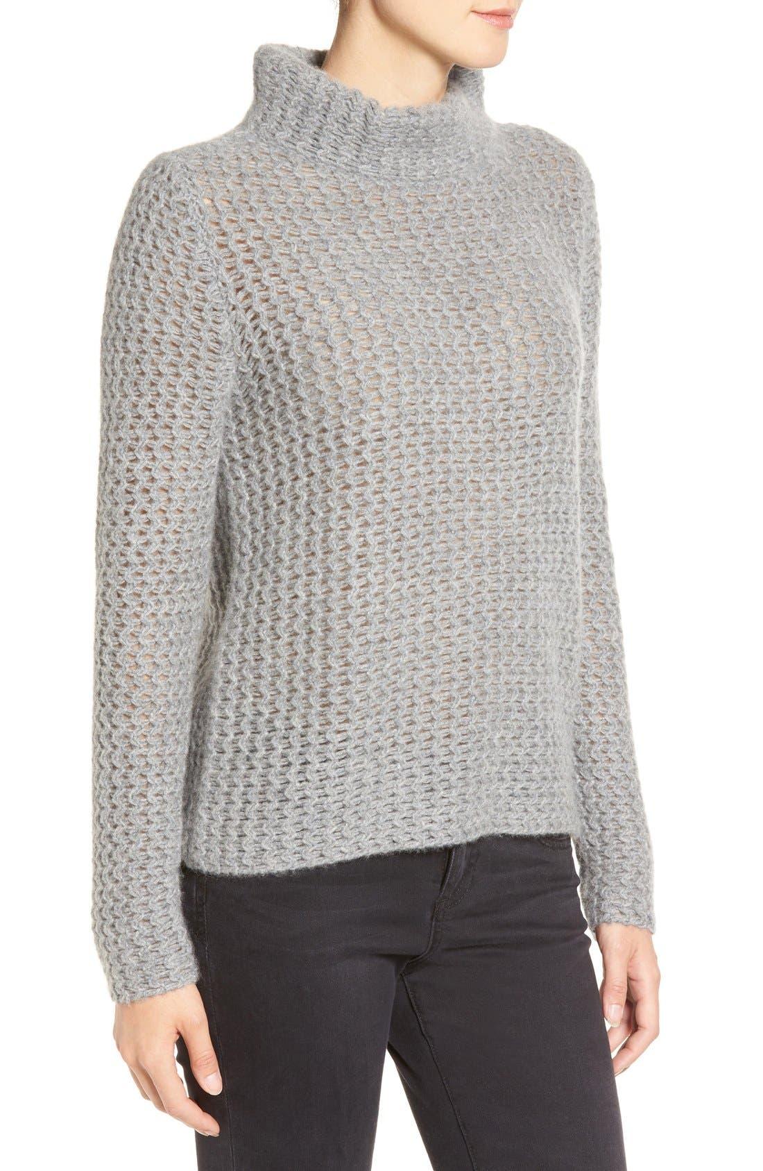 Stitch Detail Cashmere Mock Neck Sweater,                             Alternate thumbnail 2, color,                             030