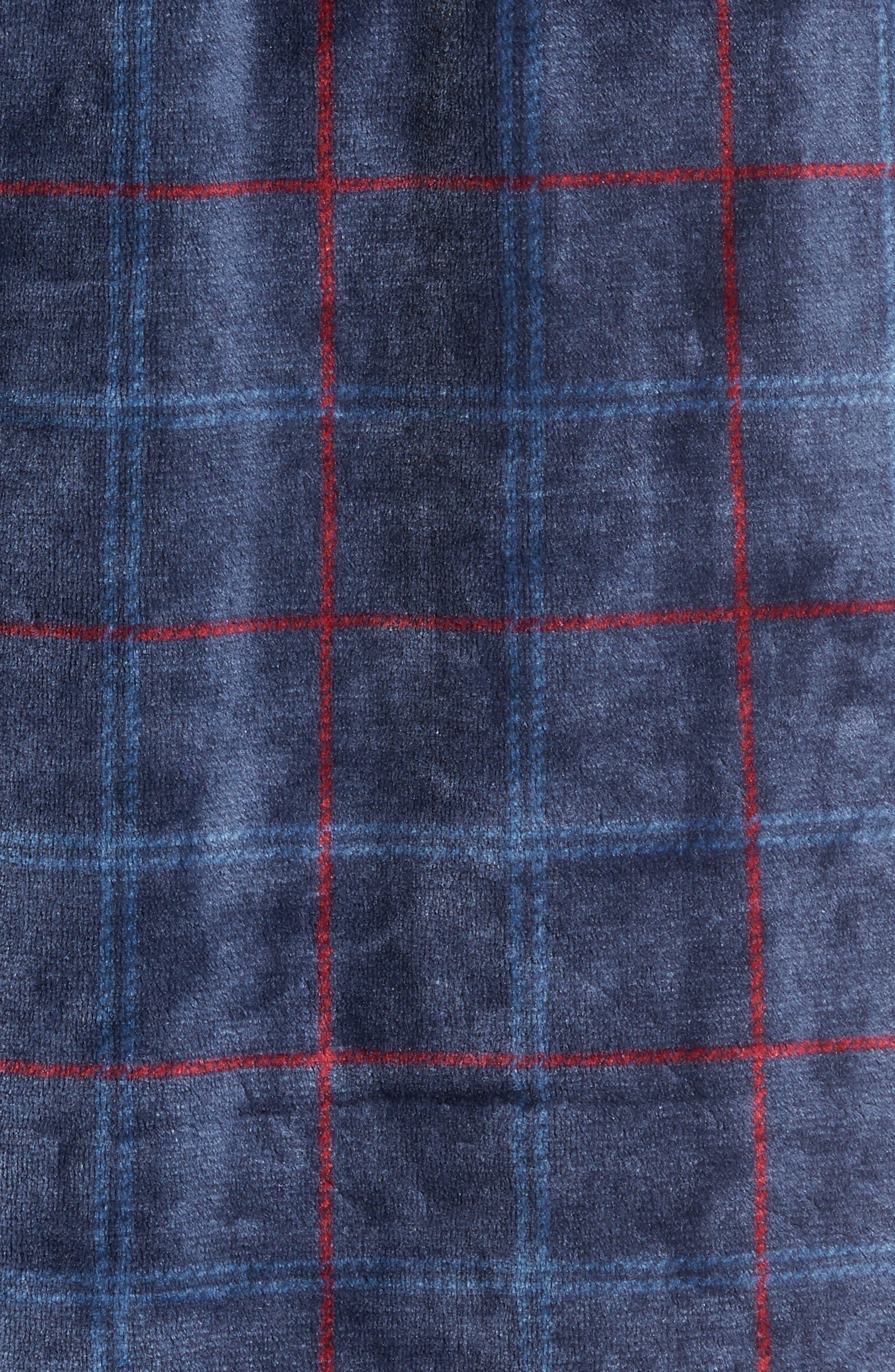 Windowpane Fleece Robe,                             Alternate thumbnail 5, color,                             NAVY -RED WINDOWPANE