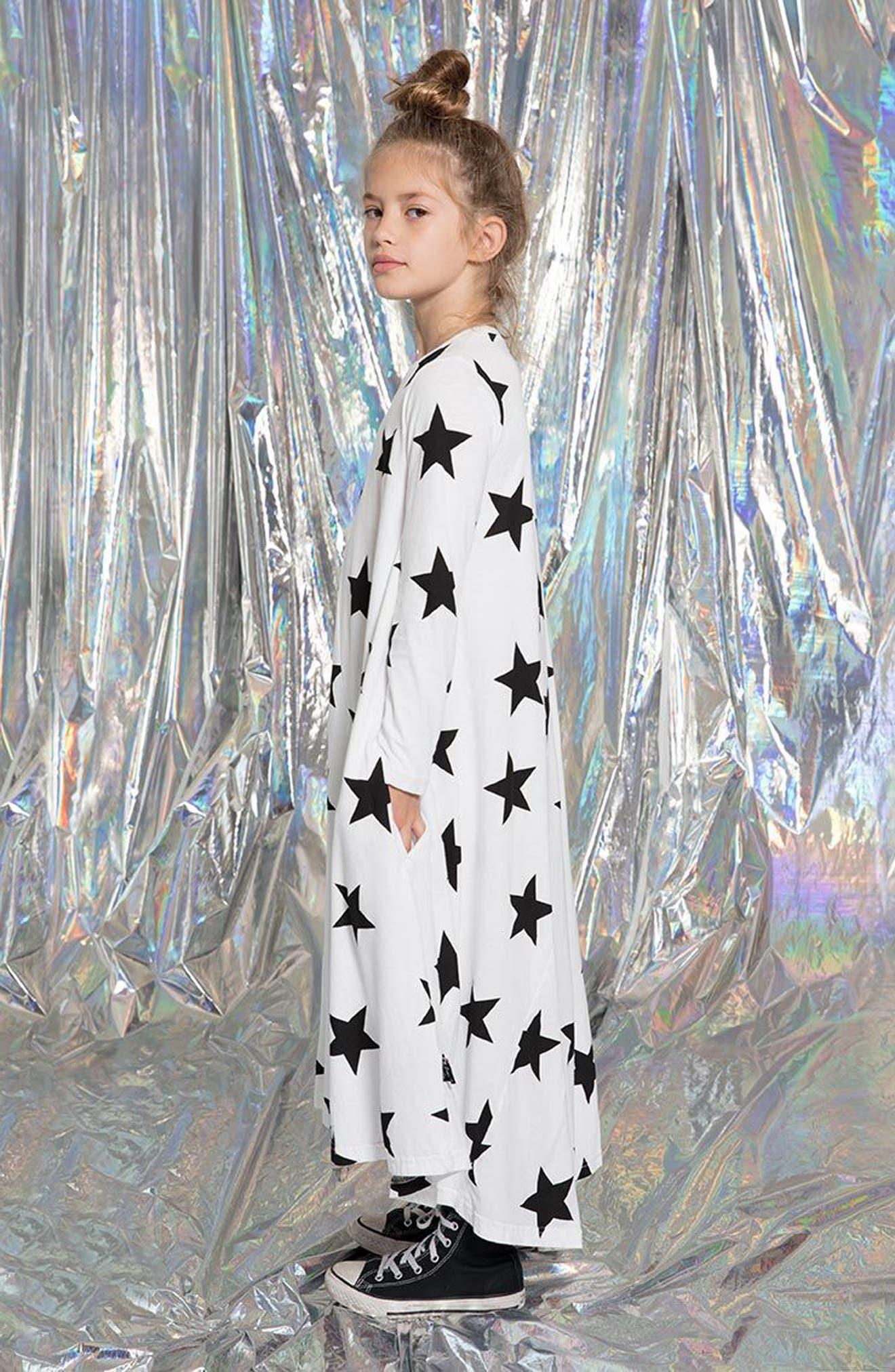 Star Print Maxi Dress,                             Alternate thumbnail 6, color,                             100