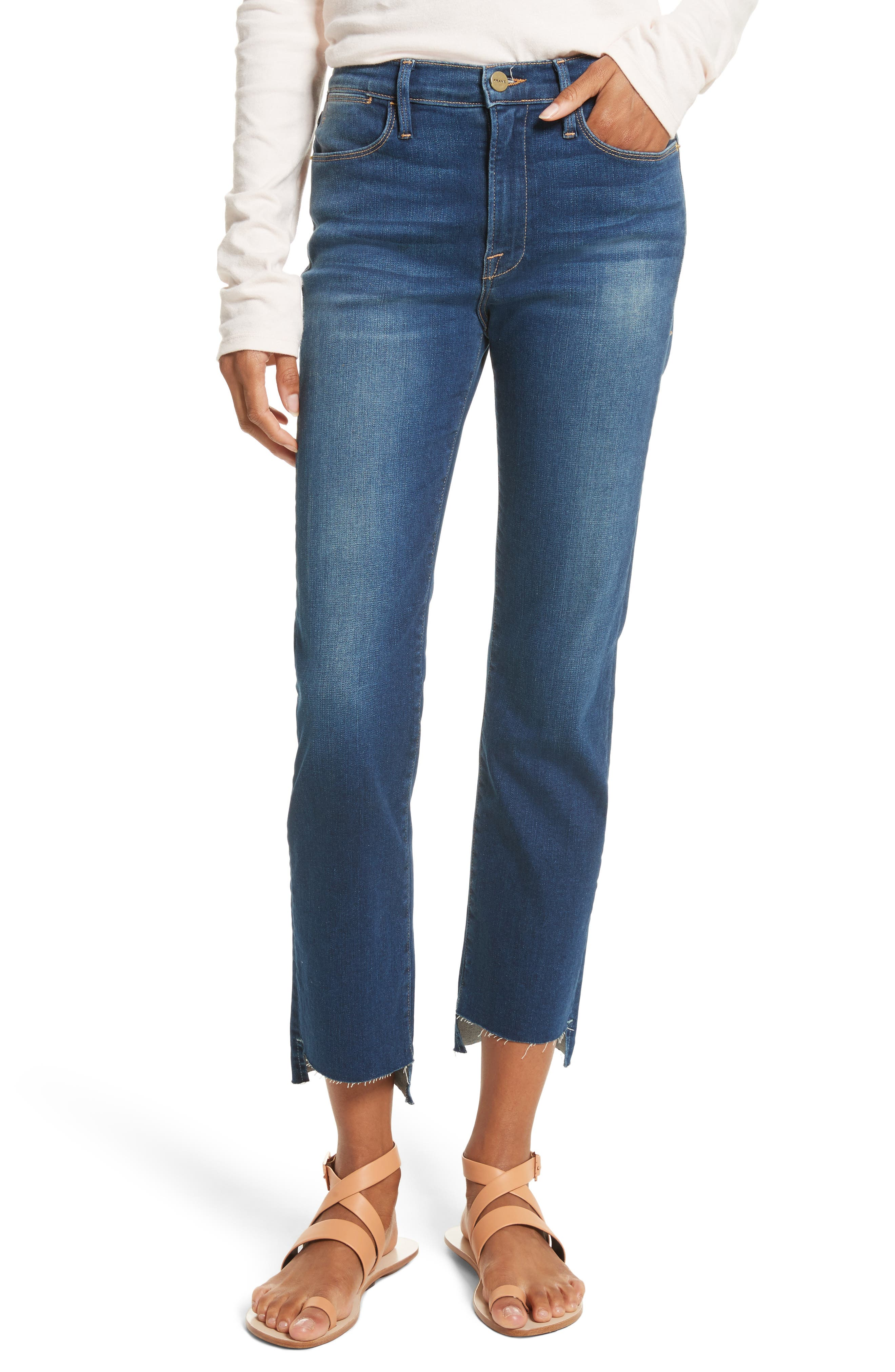 Le High Straight High Waist Raw Stagger Jeans,                             Main thumbnail 1, color,                             401