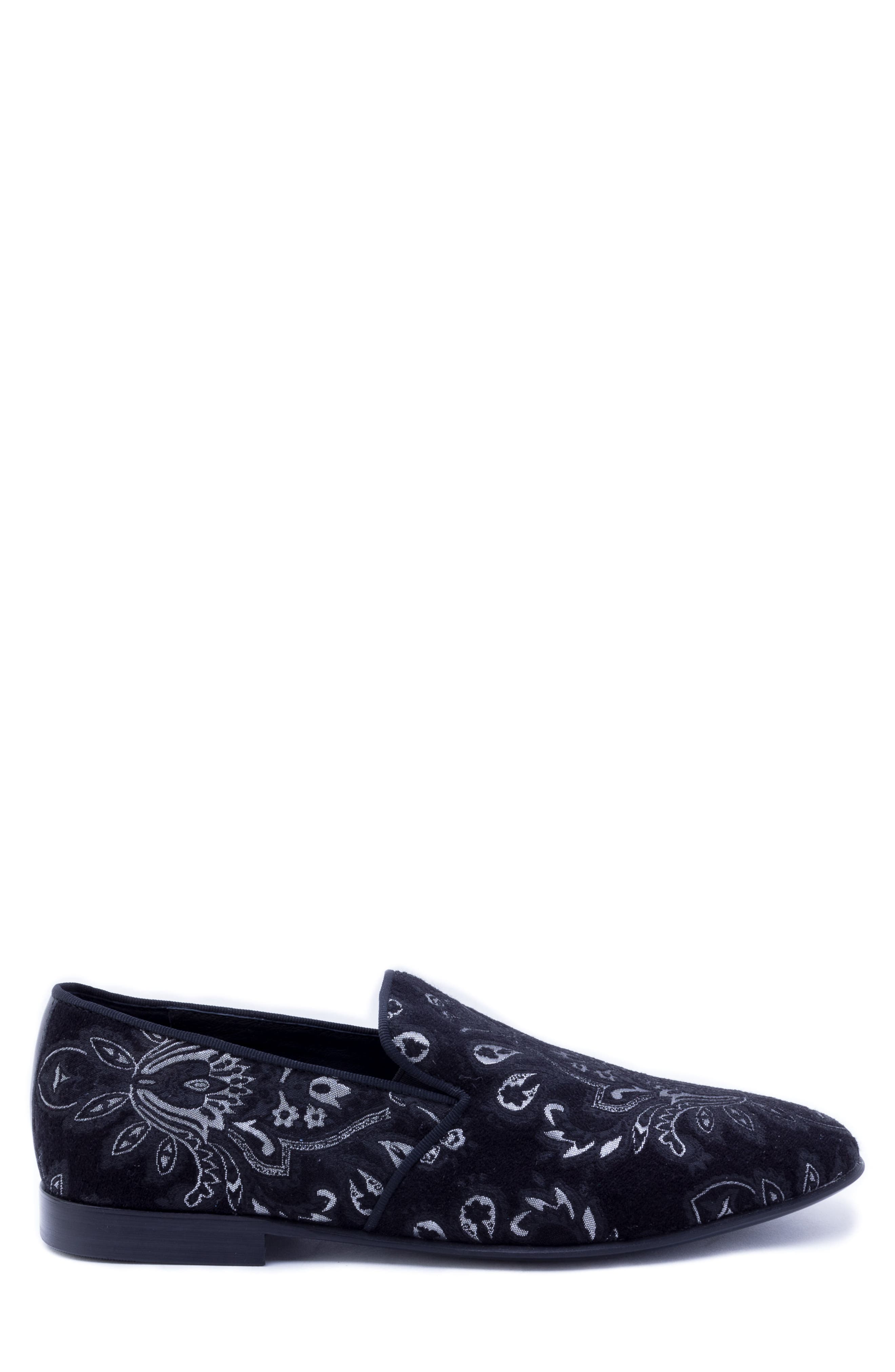 Peck Venetian Loafer,                             Alternate thumbnail 3, color,                             BLACK FABRIC