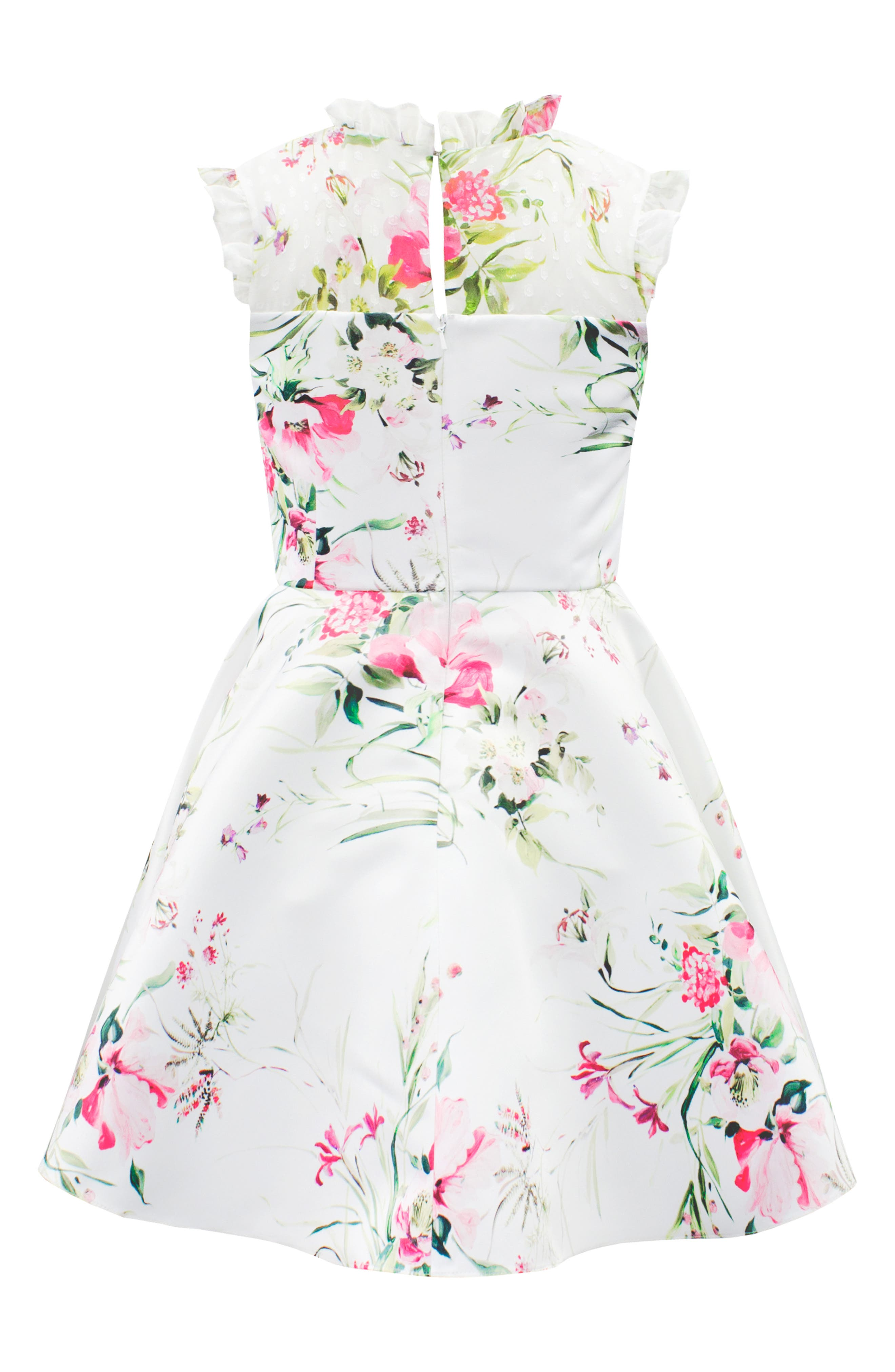 Floral Print Satin & Swiss Dot Party Dress,                             Alternate thumbnail 2, color,                             IVORY/ PINK