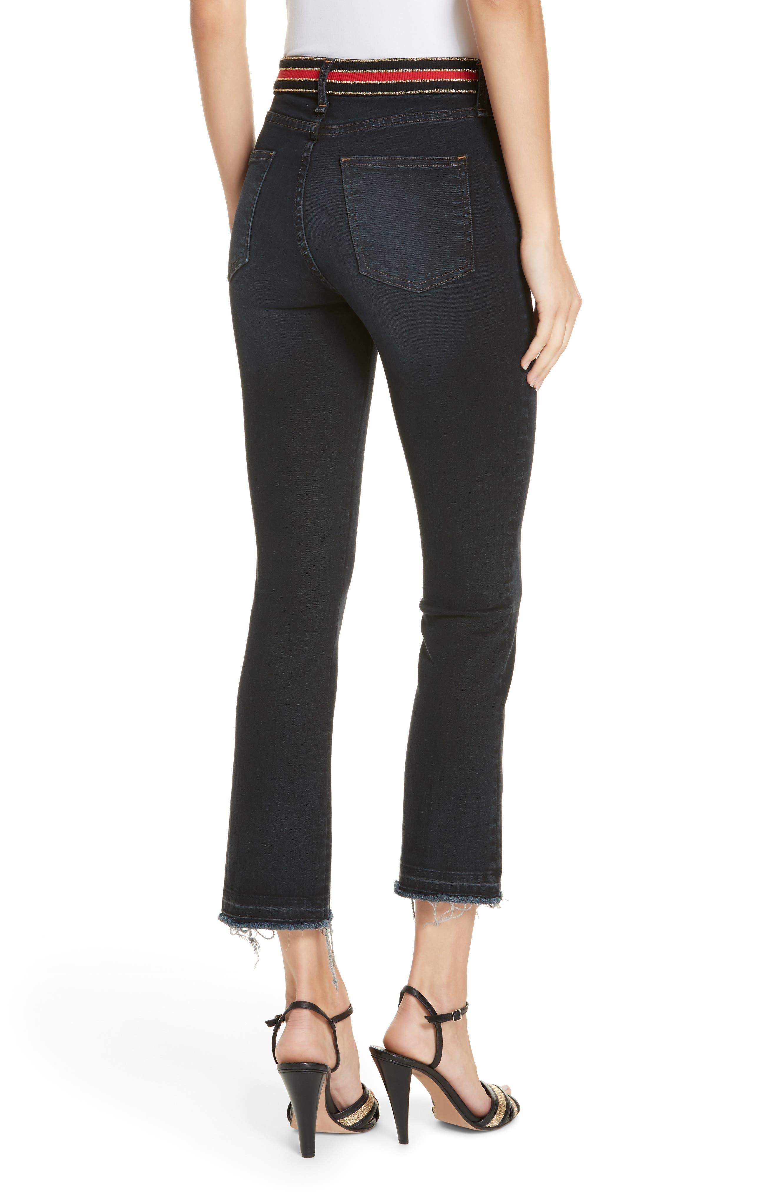 Carolyn Stripe Waist Crop Flare Jeans,                             Alternate thumbnail 2, color,                             DARK SLATE