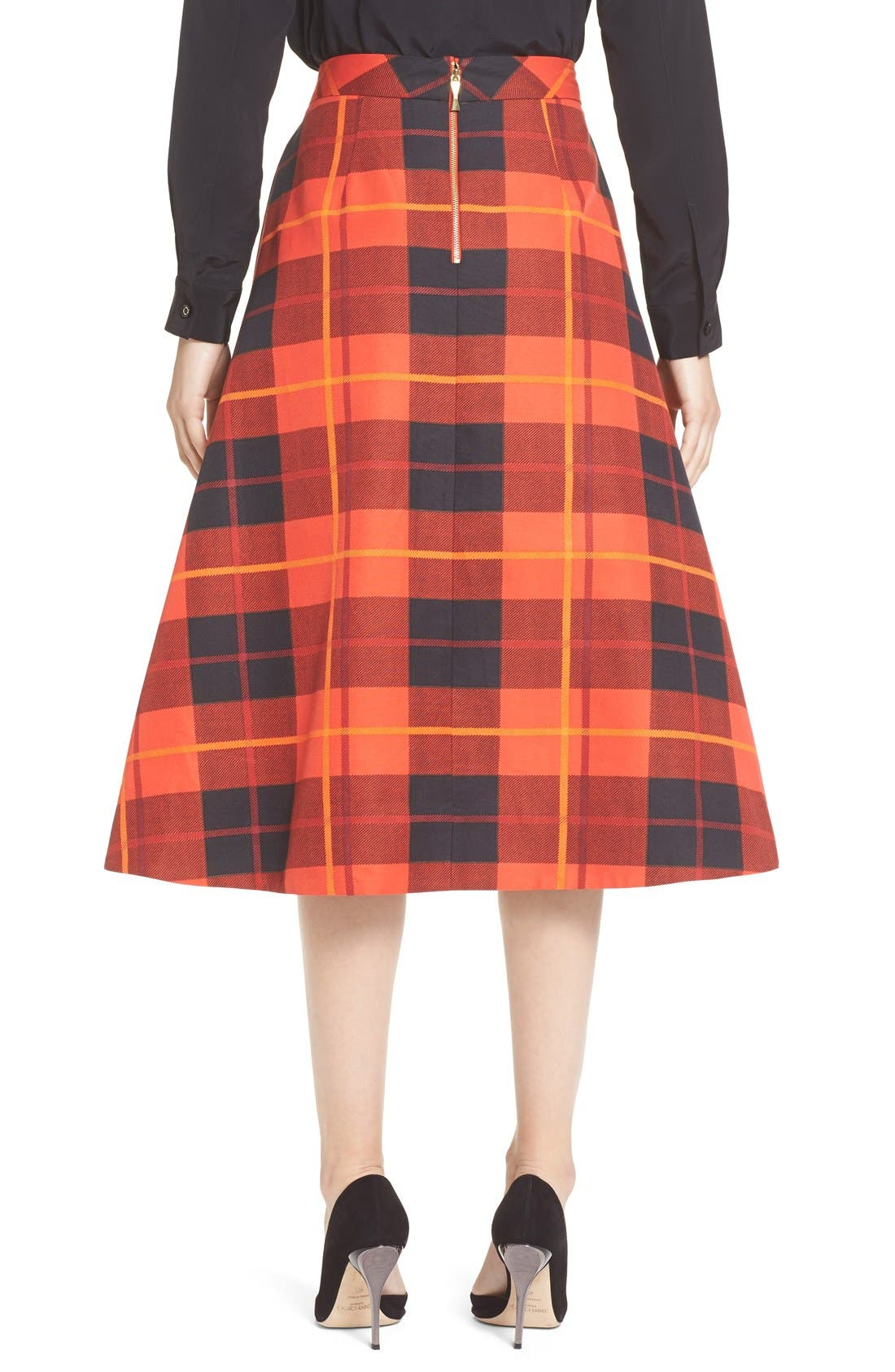 KATE SPADE NEW YORK,                             katespade new yorkwoodland plaid midi skirt,                             Alternate thumbnail 5, color,                             601