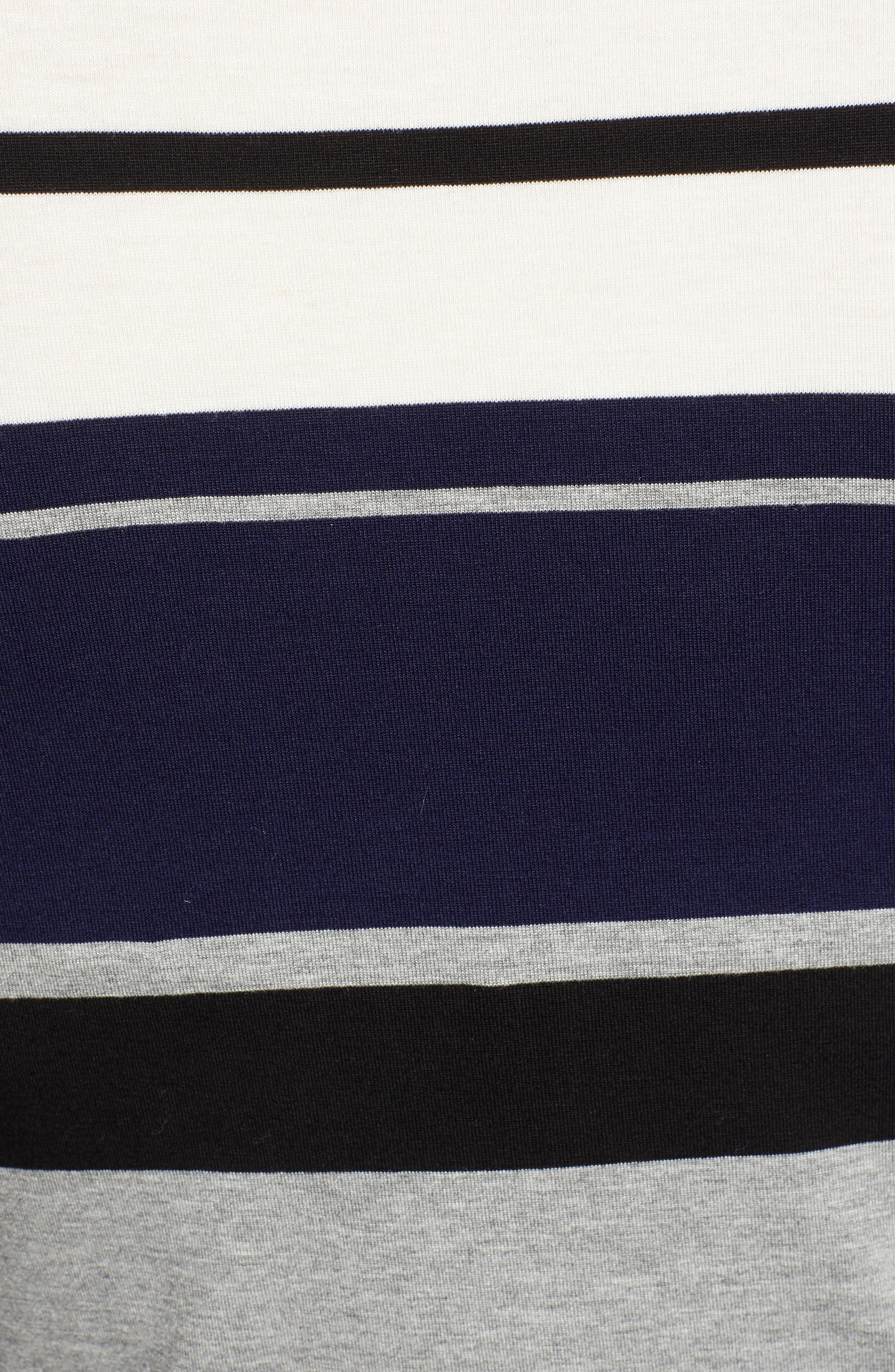 Stripe Mock Neck Tee,                             Alternate thumbnail 5, color,                             BLACK/ WHITE/ GREY